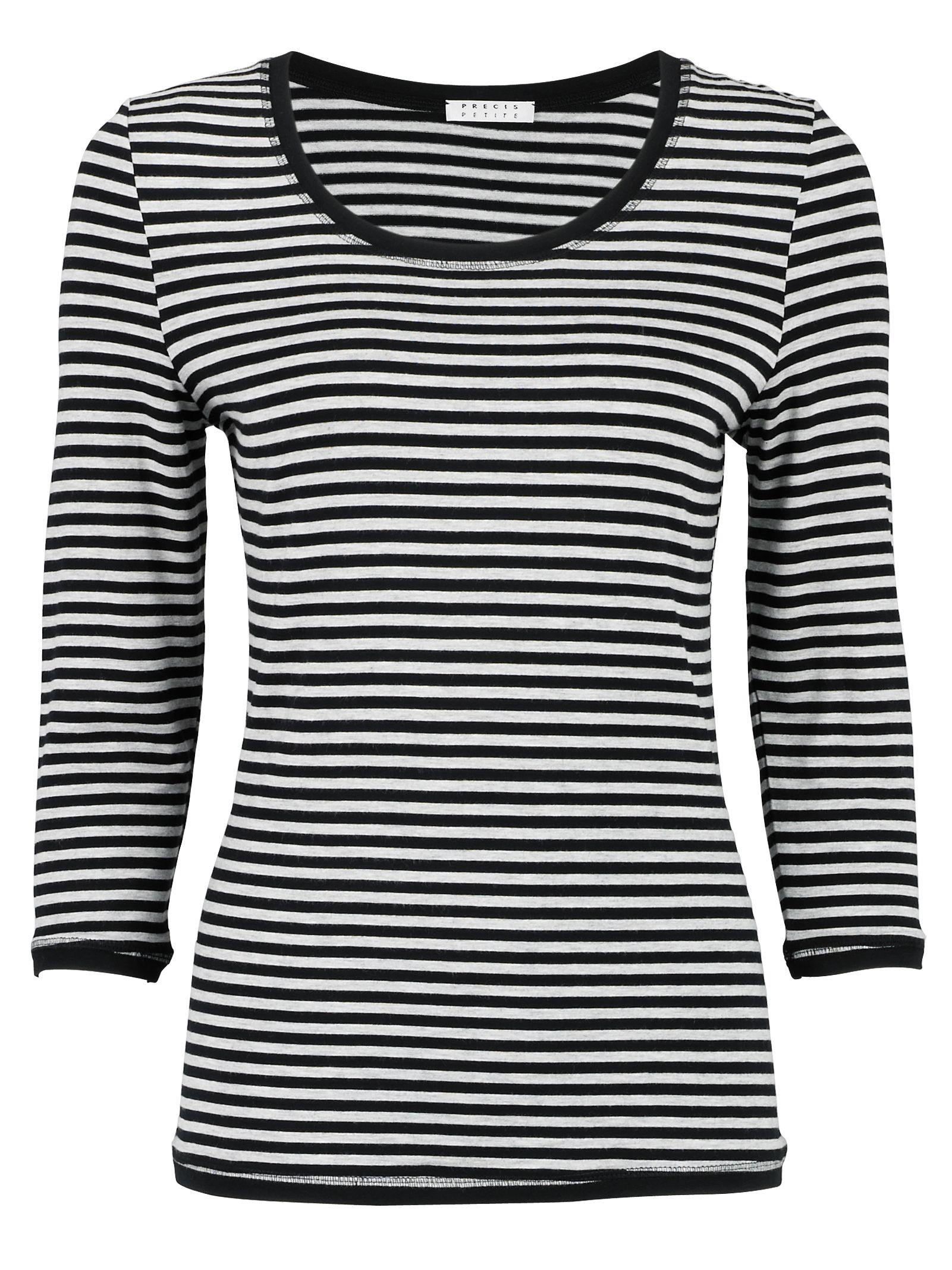 Precis Petite Stripe Print Long Sleeve Top, Black/white