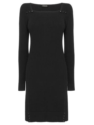 Jaeger Square Neck Cashmere Sweater Dress, Black at John Lewis