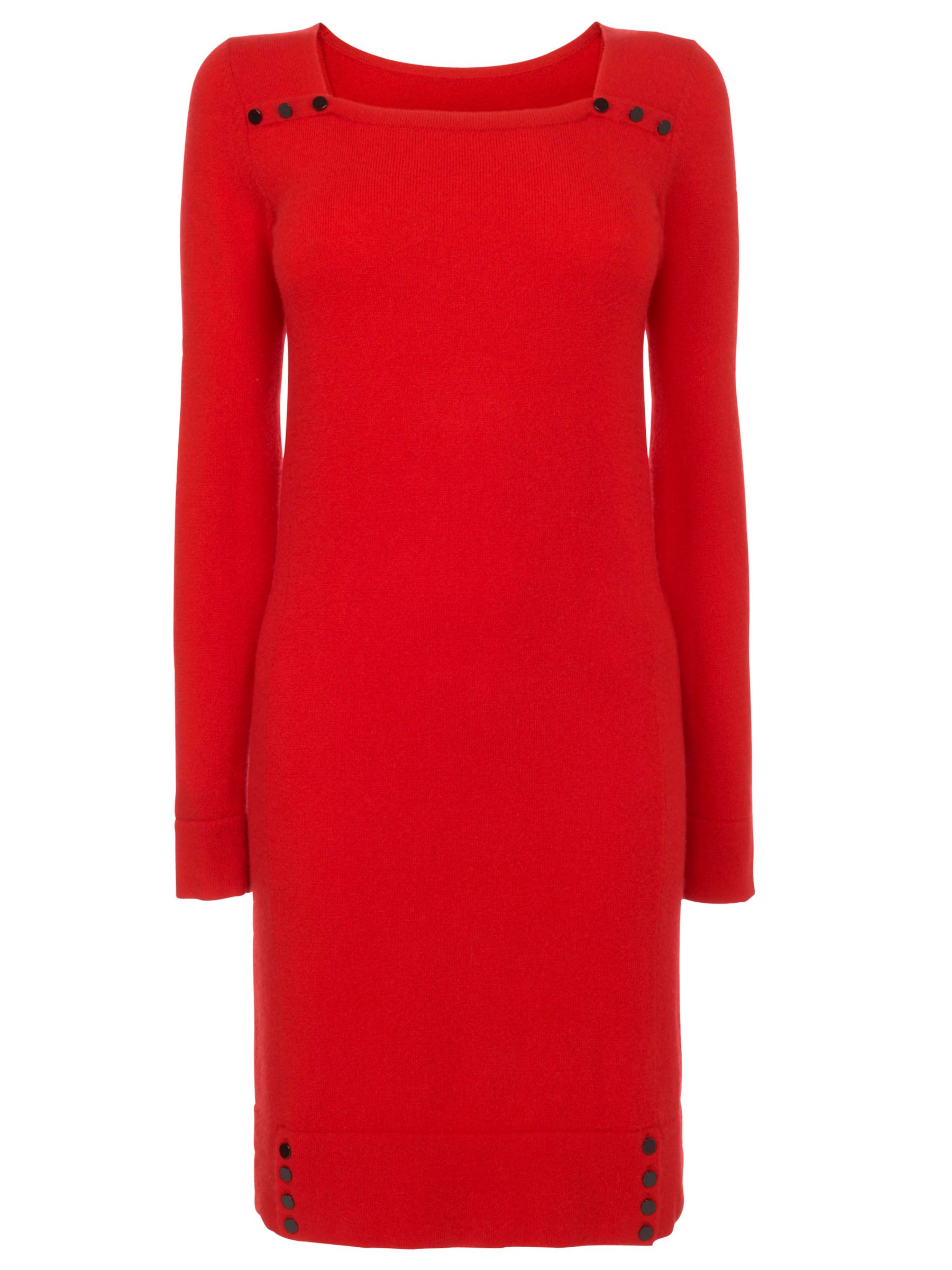 Jaeger Square Neck Cashmere Sweater Dress, Red at John Lewis