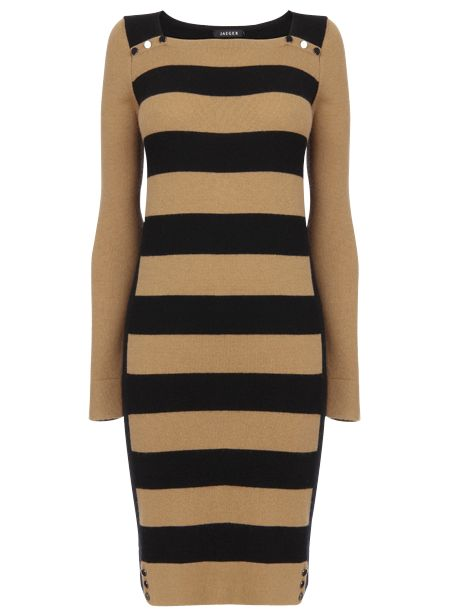 Jaeger Stripe Print Button Detail Sweater Dress, Camel at John Lewis
