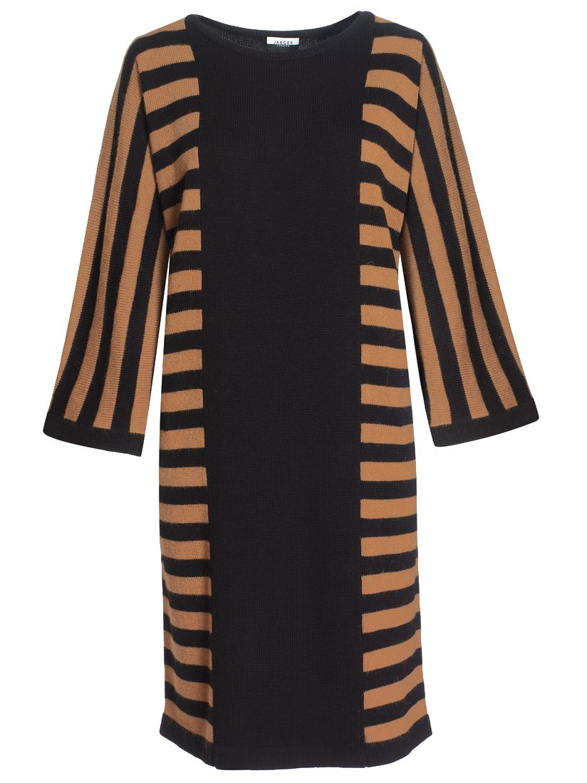 Jaeger Stripe Sweater Dress, Camel at John Lewis