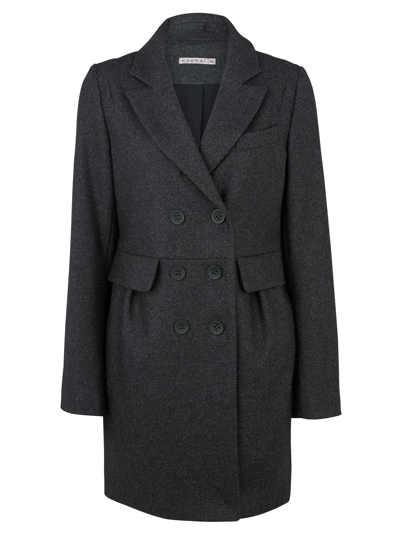 Kookai Double Breasted Wool Coat, Grey at John Lewis