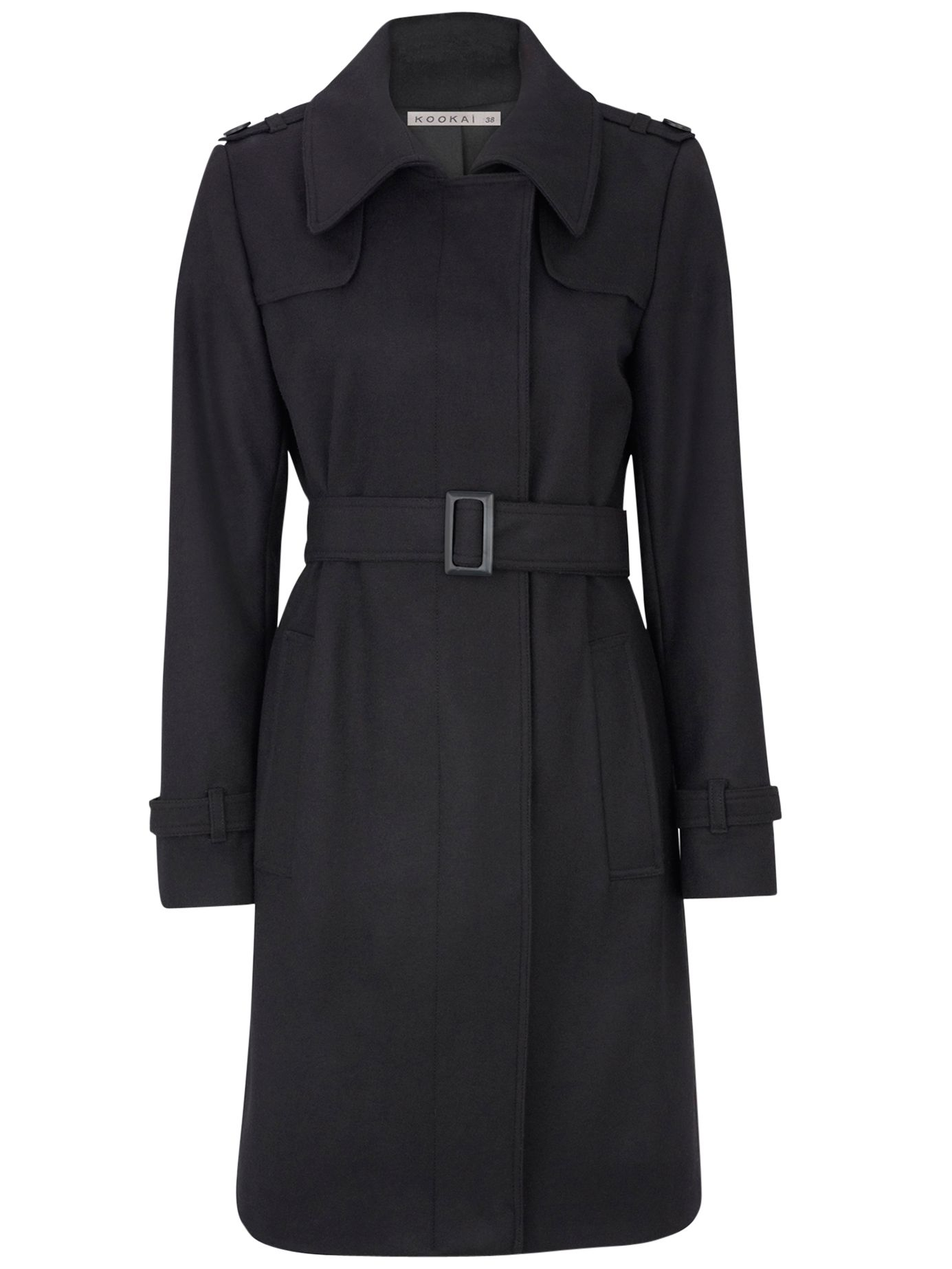 Kookai Belted Wool Trench Coat, Black at John Lewis