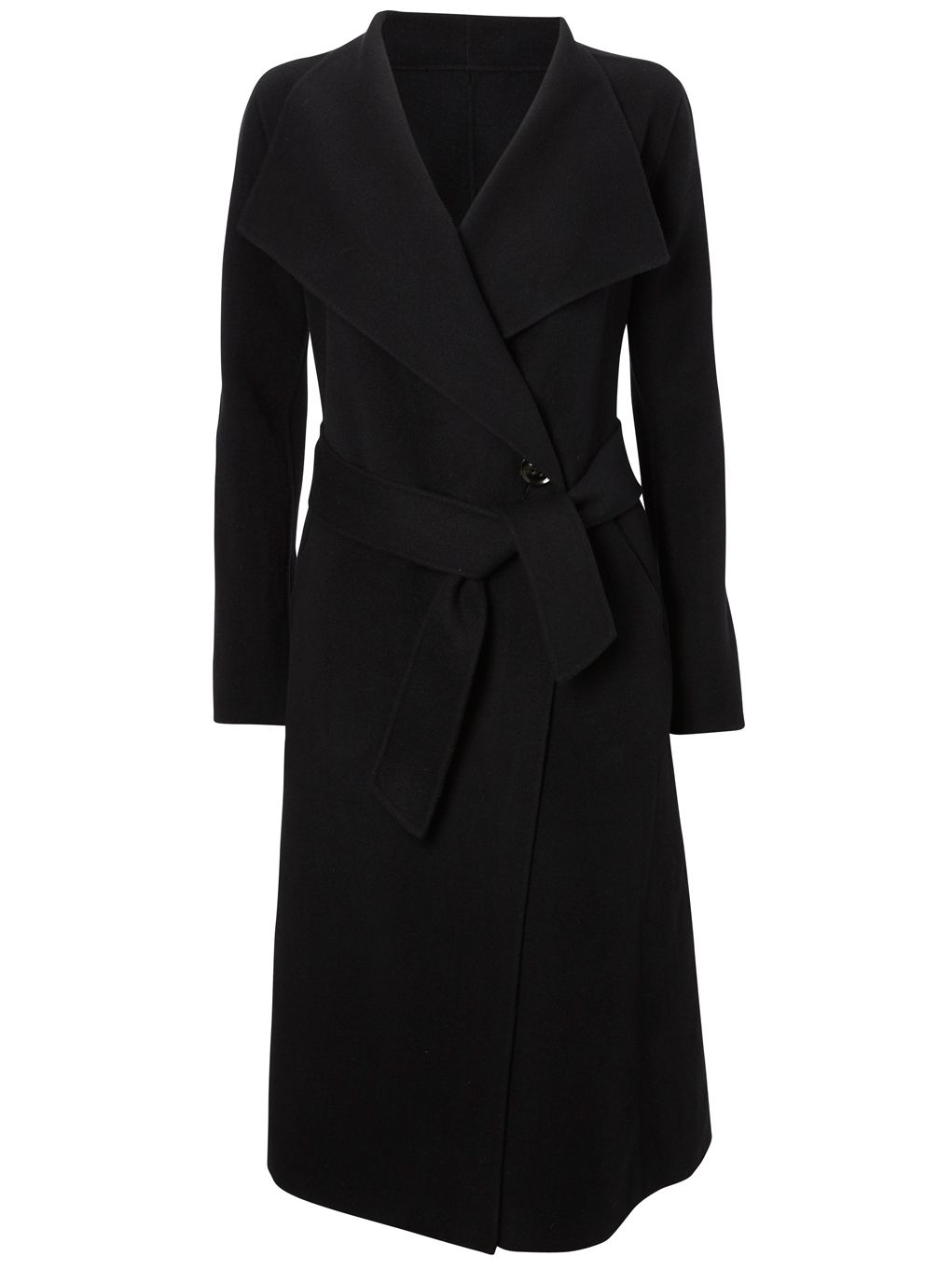 Viyella Long Sleeve Double Faced Wrap Coat, Black at John Lewis