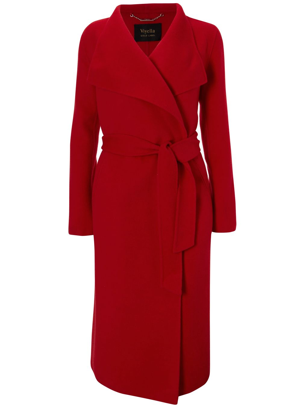 Viyella Long Sleeve Double Faced Wrap Coat, Red at John Lewis