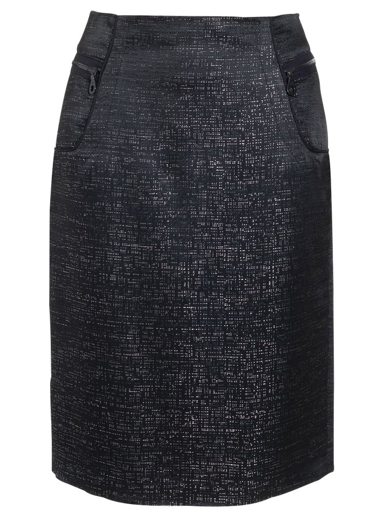 Jaeger Silk Jacquard Skirt, Black at John Lewis