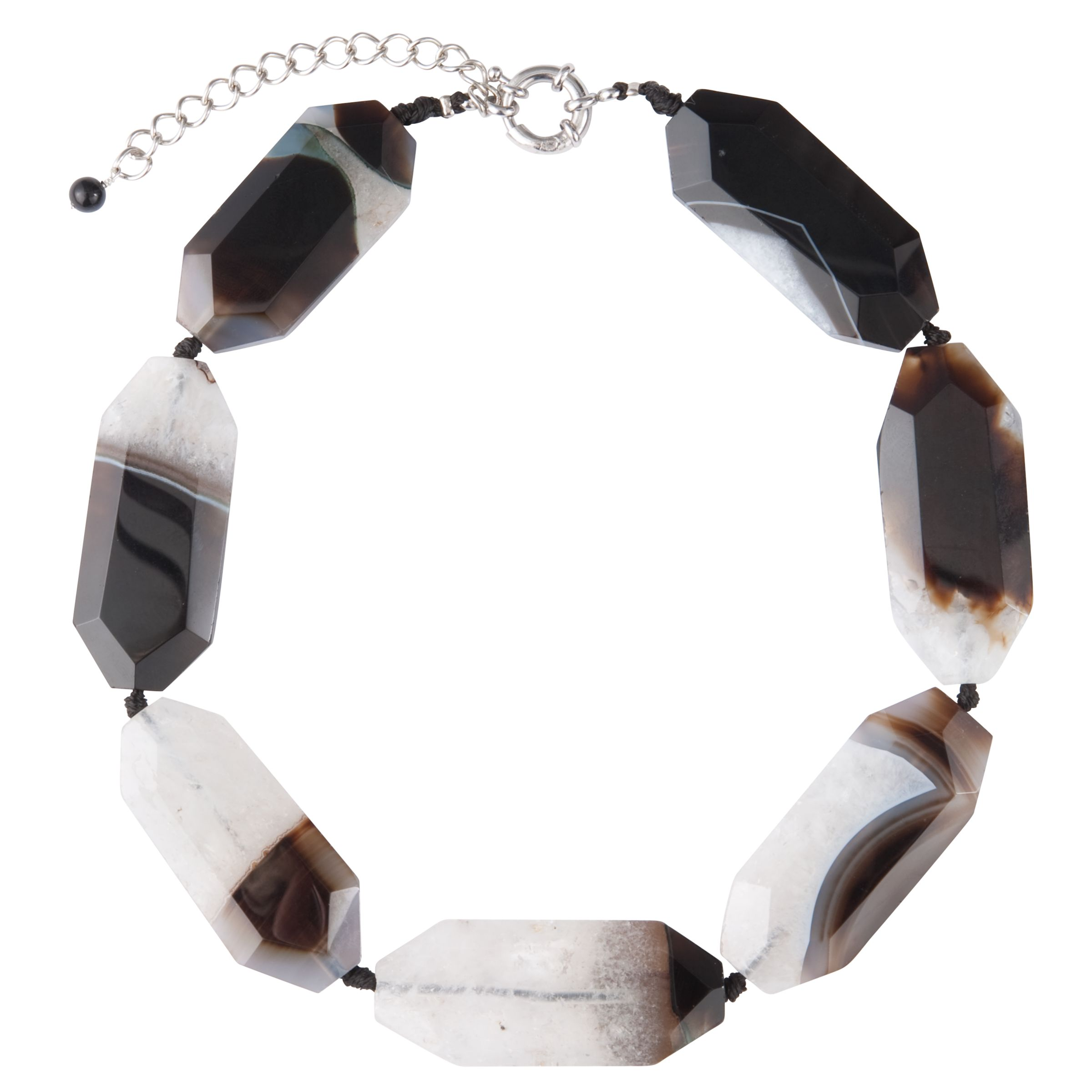 Gemstones, John Lewis Women Hexagon Faceted Black Clear Necklace