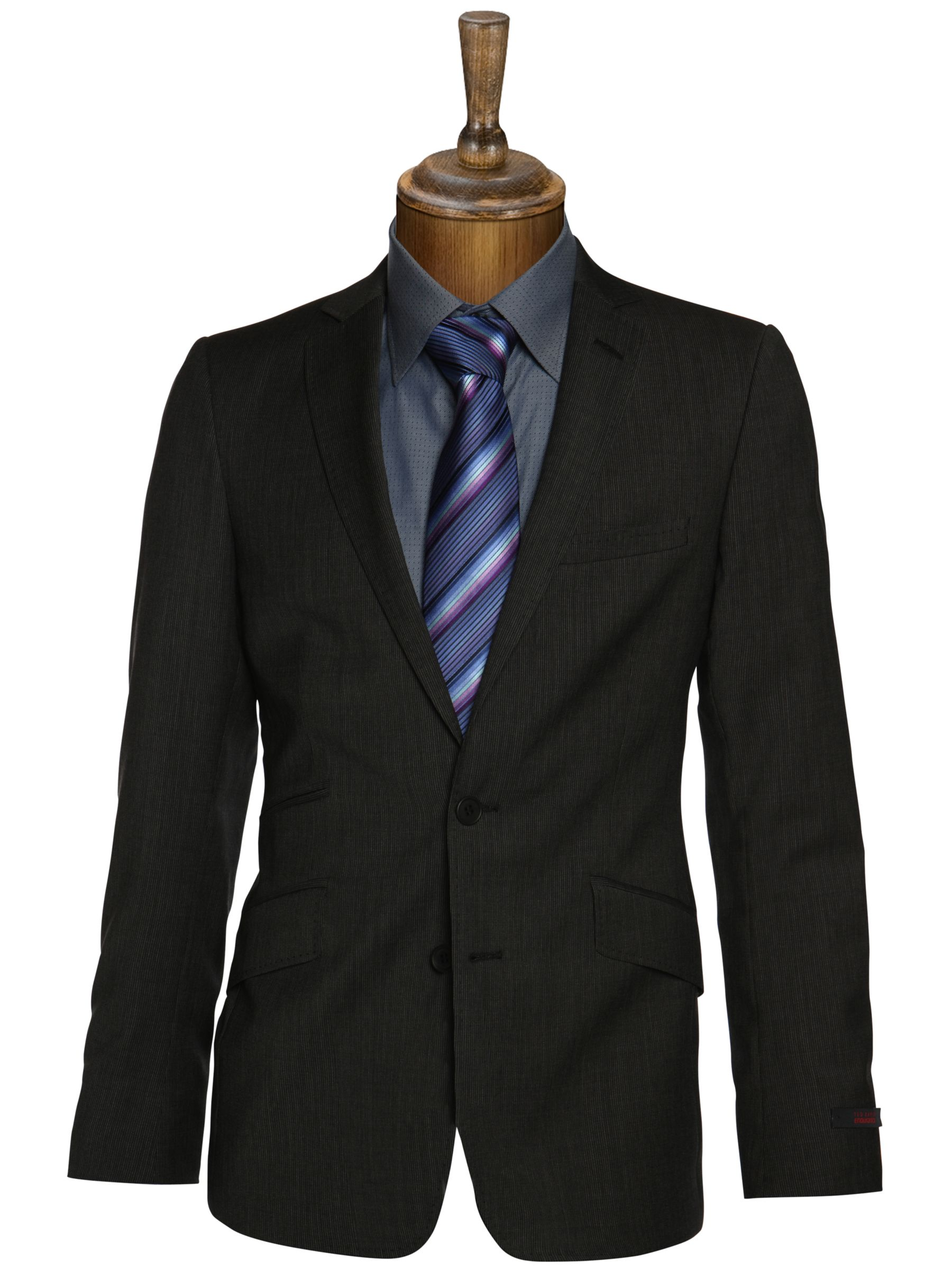 Ted Baker Cusco Self Stripe Suit Jacket, Grey at JohnLewis