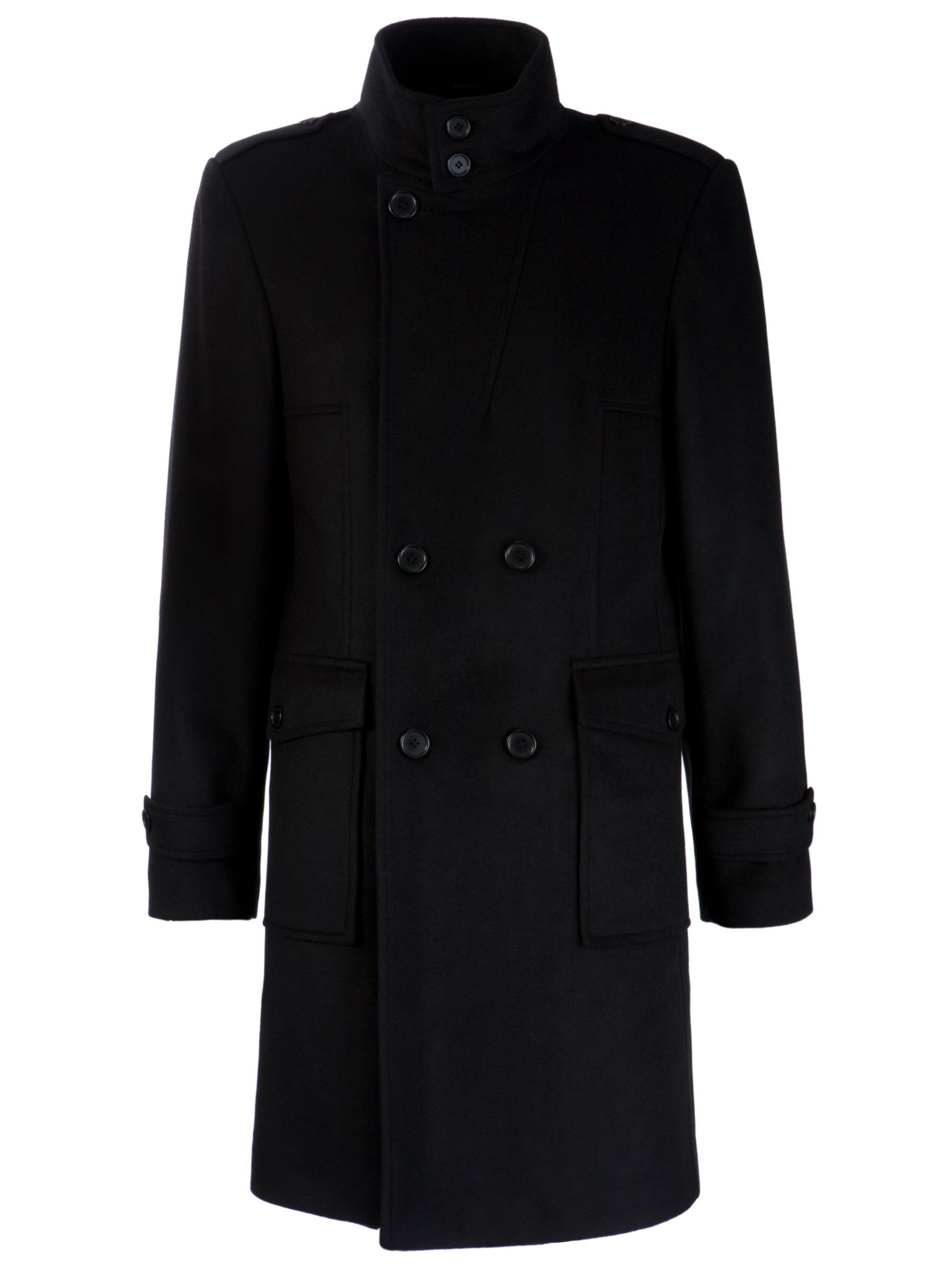 COLLECTION, John Lewis Men Double Breasted Trench Coat, Black at John Lewis