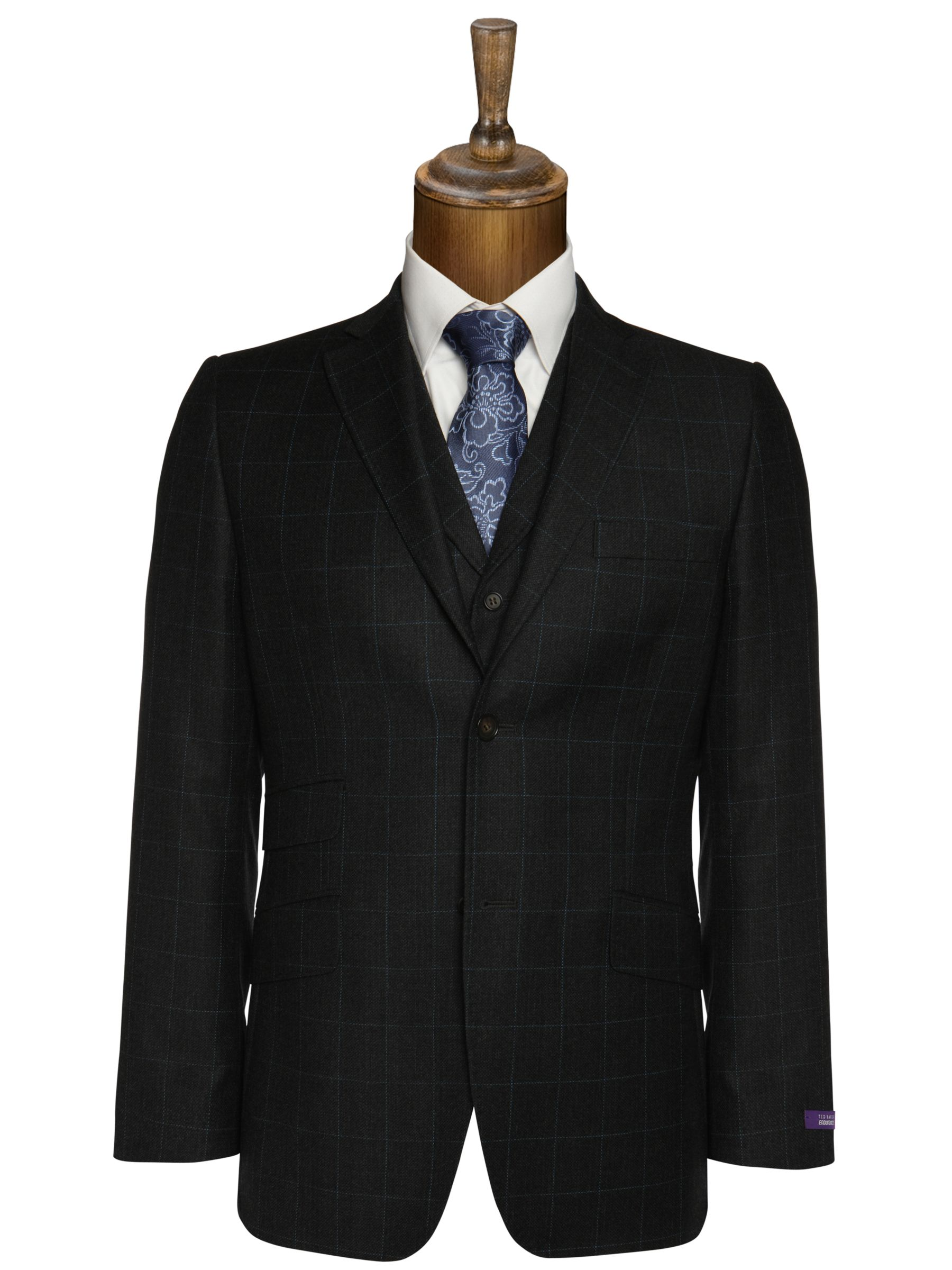 Ted Baker Mytho Over Check Jacket, Charcoal at JohnLewis