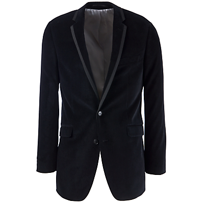 John Lewis Men Grossgrain Trim Velvet Jacket, Black