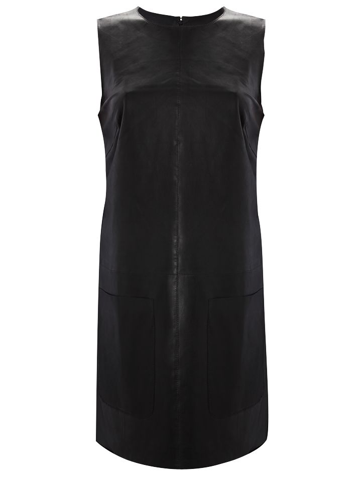French Connection Fast Raw Leather Shift Dress, Black at John Lewis