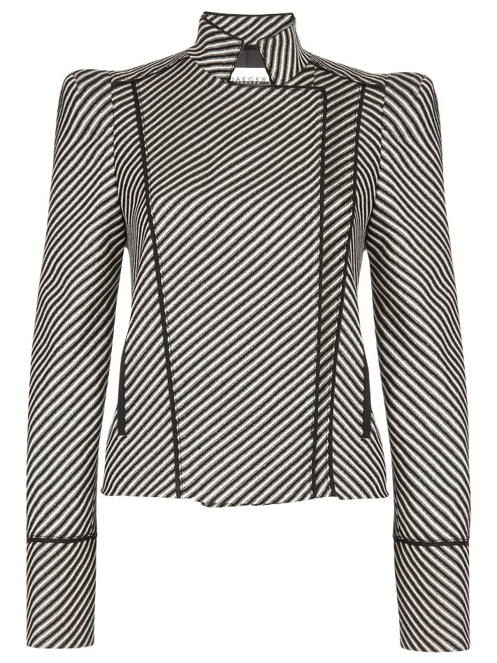 Jaeger Buckle Trim Long Sleeve Jacket, Black at John Lewis