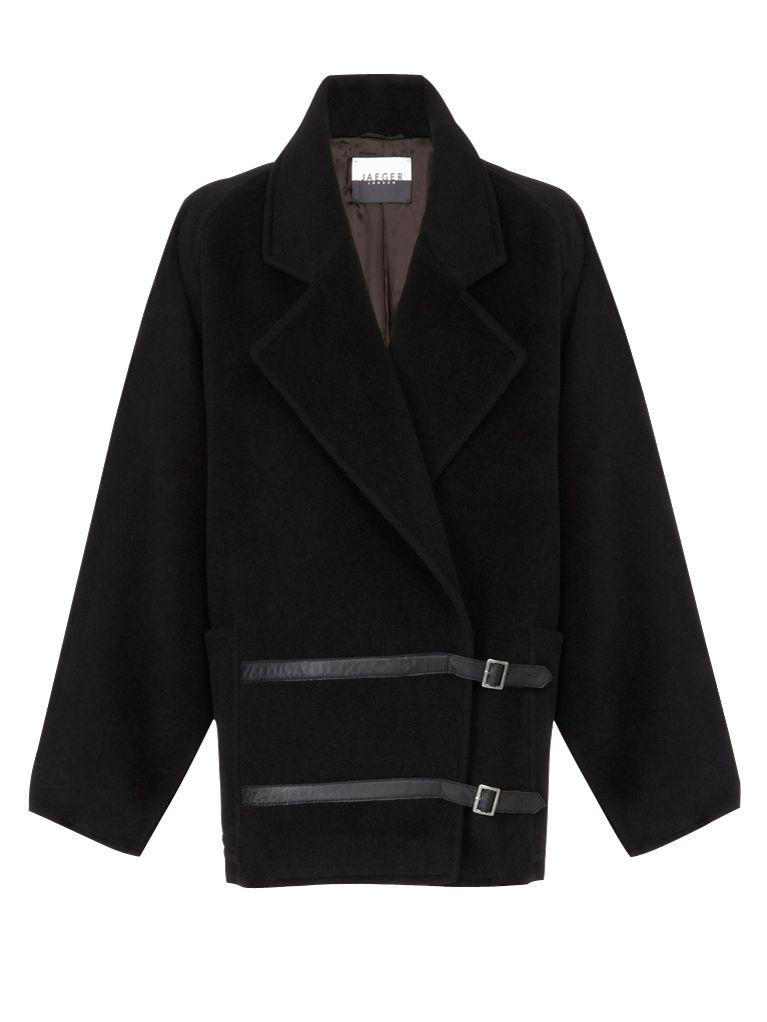 Jaeger Leather Buckle Coat, Black at John Lewis