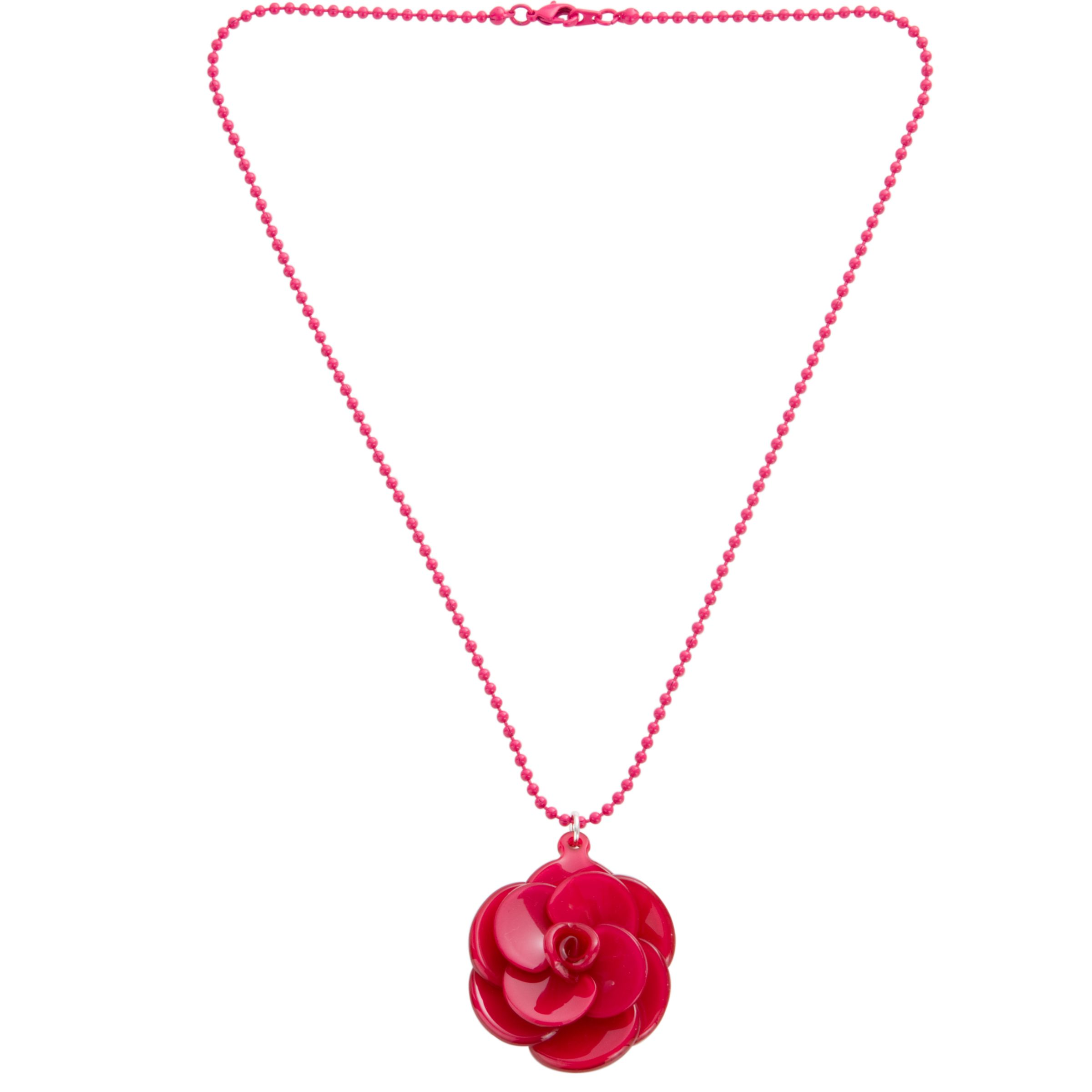Big Baby Small Rosette Fuchsia Flower Pendant Necklace