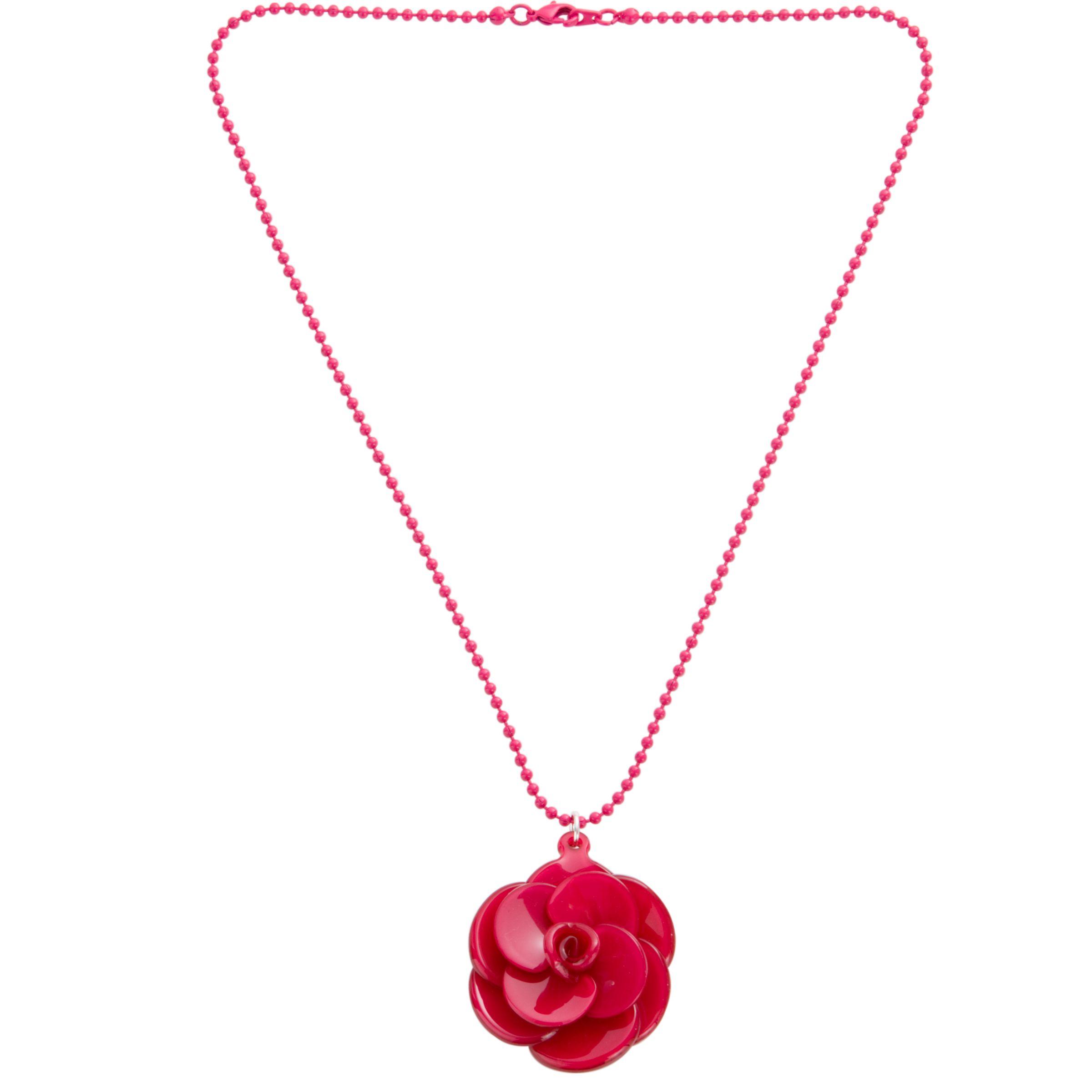 Big Baby Small Rosette Fuchsia Flower Pendant Necklace