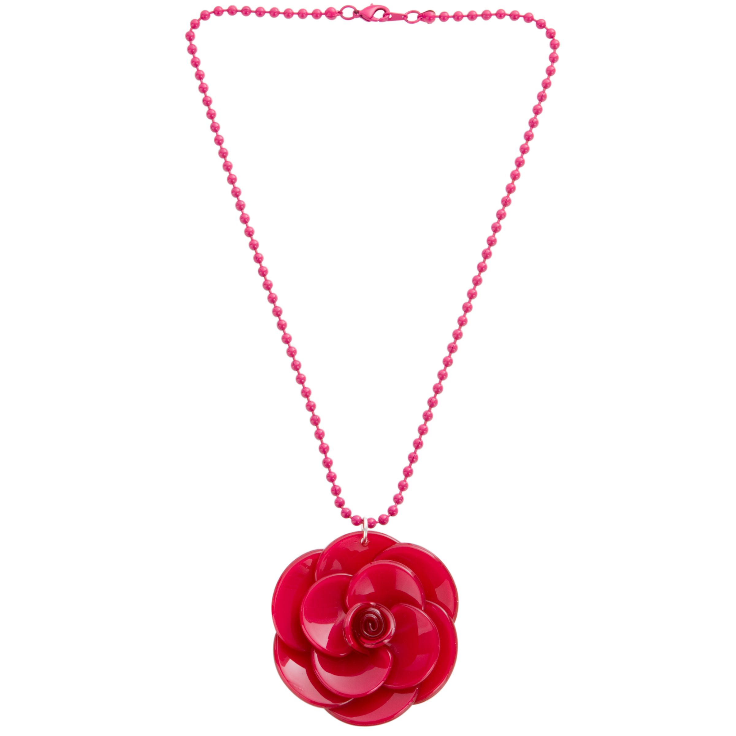 Big Baby Large Rosette Fuchsia Flower Pendant Necklace