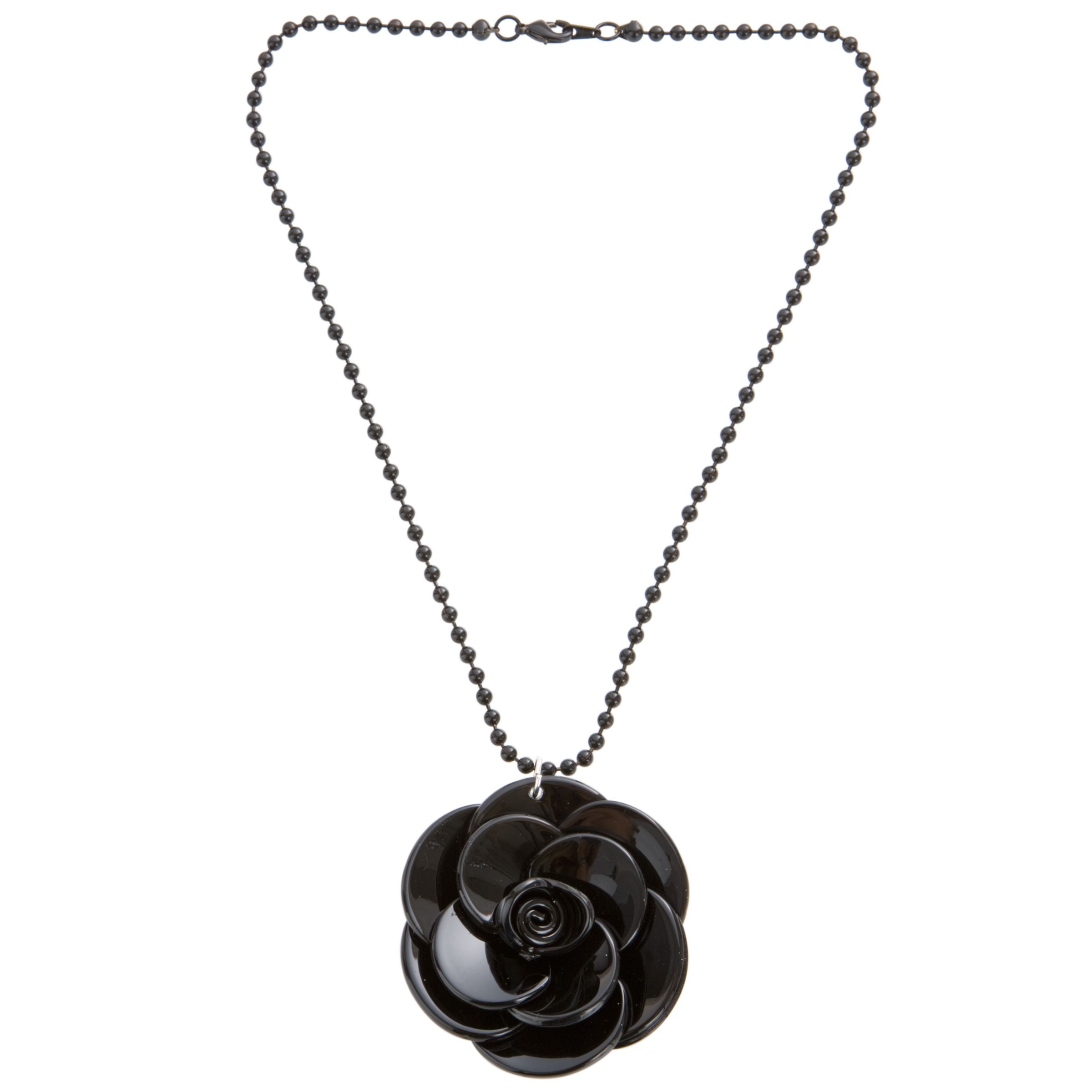 Big Baby Large Rosette Black Flower Pendant Necklace