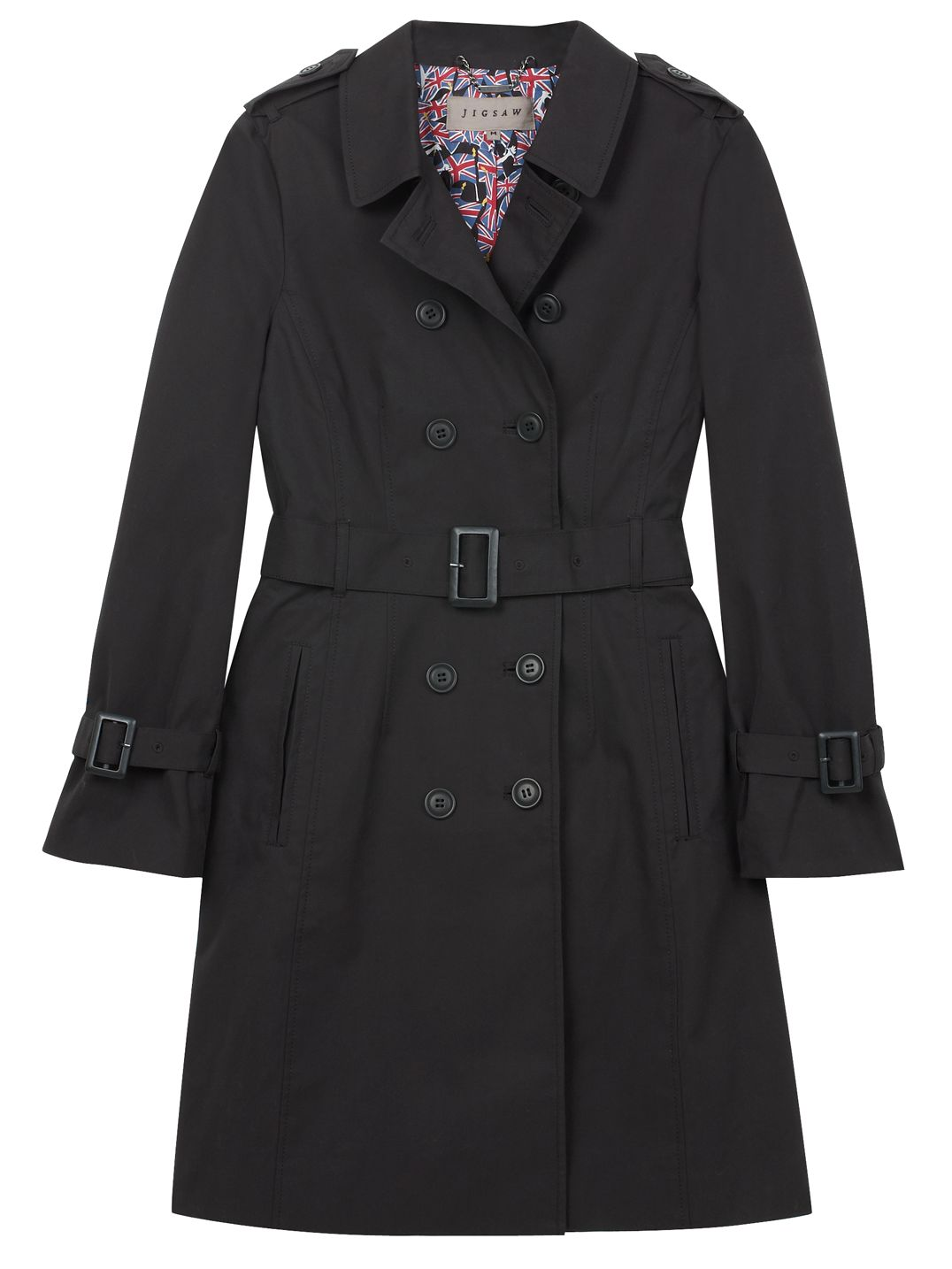 Jigsaw Coated Cotton Trench Coat, Black at John Lewis