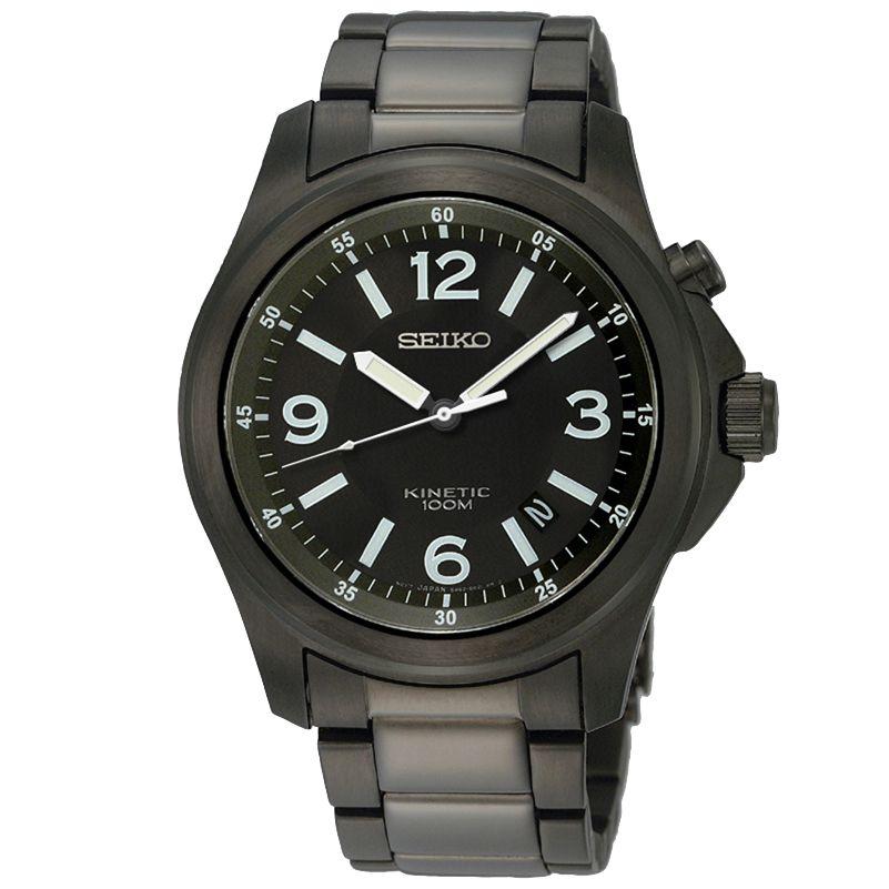 Seiko SKA465P1 Men's Round Black Dial Kinetic Watch at John Lewis