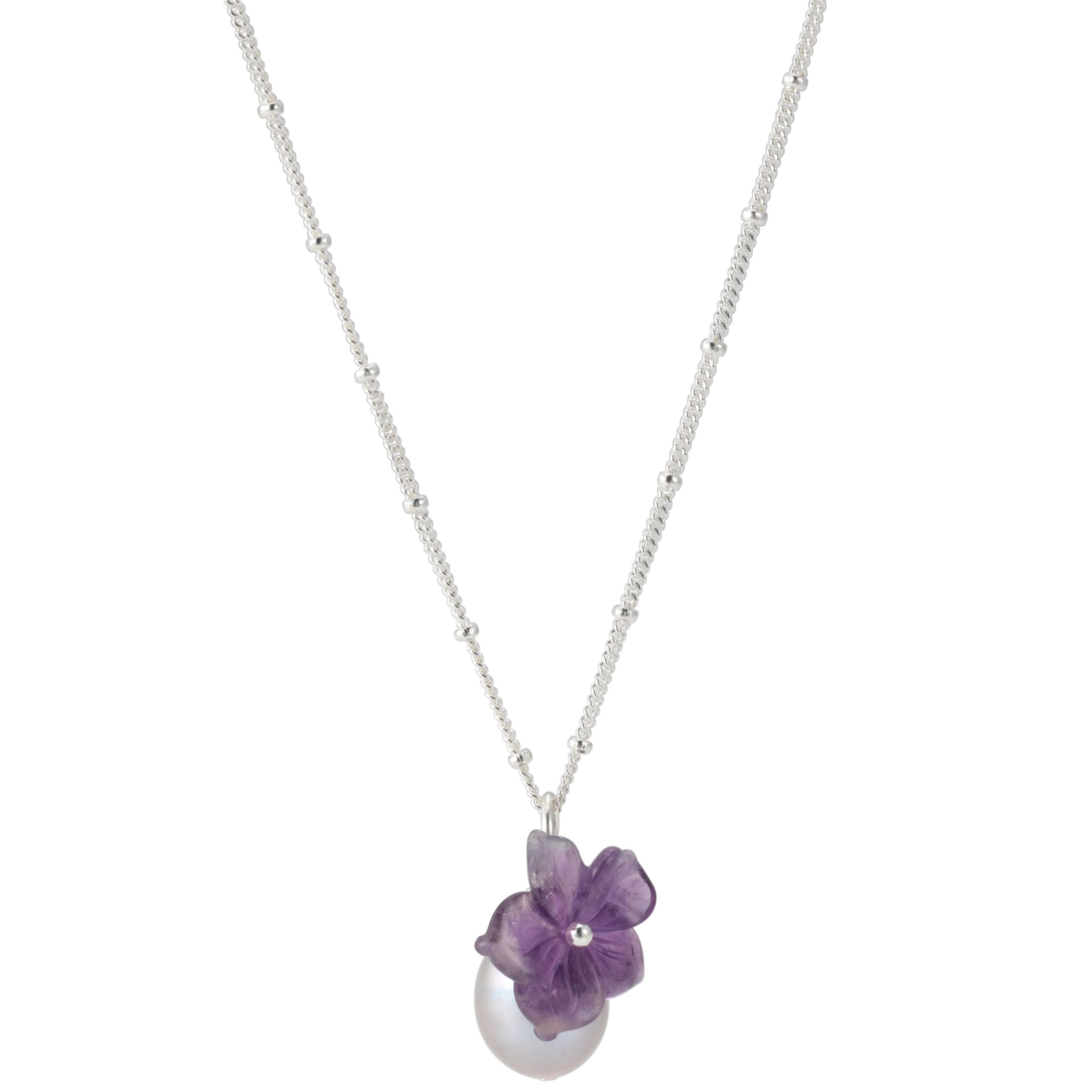 Martick Purple Flower and Grey Pearl Pendant Necklace