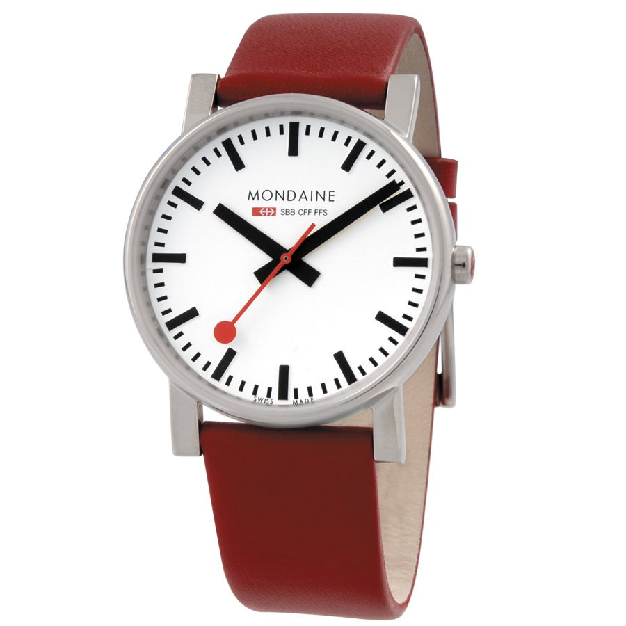 Mondaine A6603034411SBC Ladies Evo White Dial Analogue Leather Strap Watch, Red