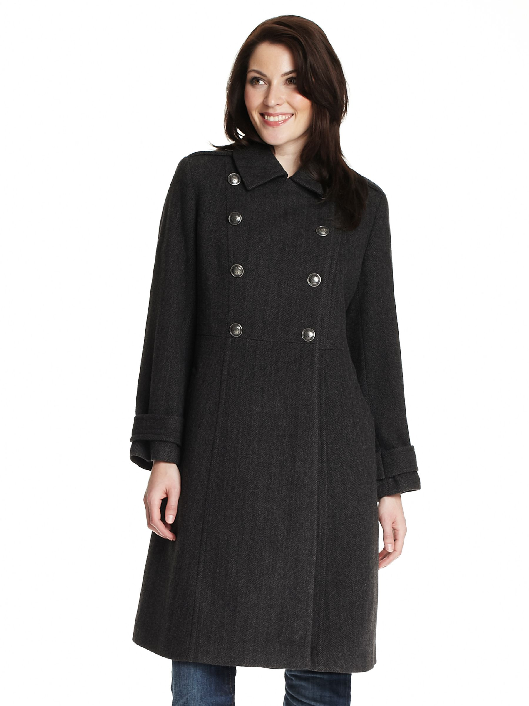 Four Seasons Long Military Coat, Black
