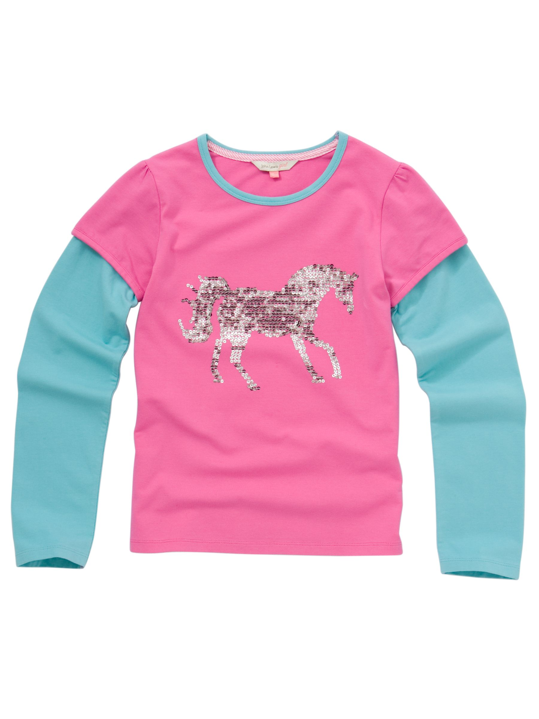 Layered Sequin Horse T-Shirt, Pink