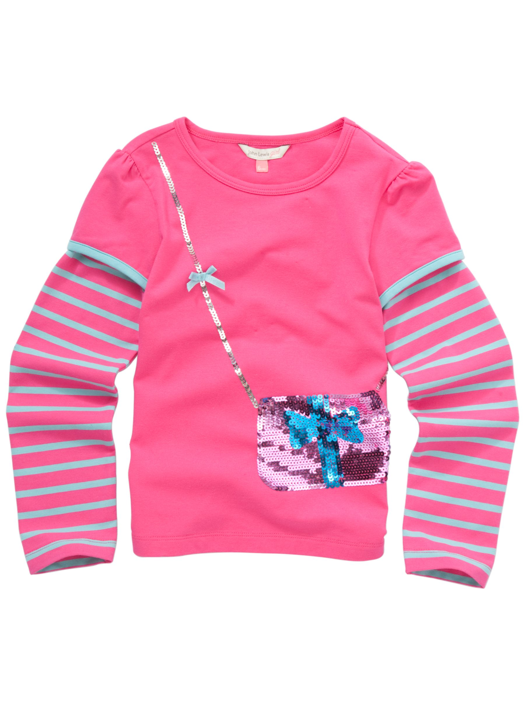 Sequin Handbag T-Shirt, Pink