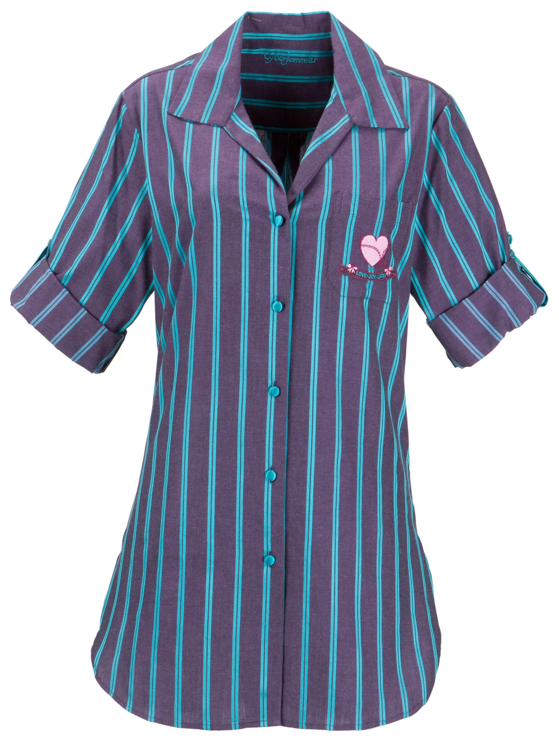 Cyberjammies Paradise Heather Nightshirt, Purple Stripe