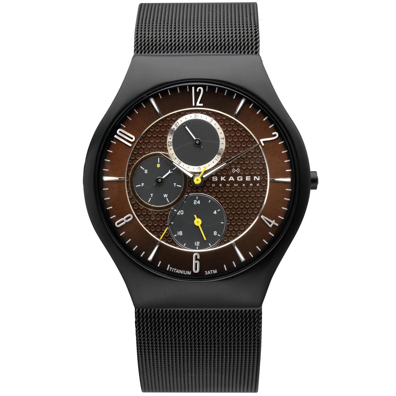 Skagen 806XLTBD Men's Titanium Case Black Mesh Strap Watch
