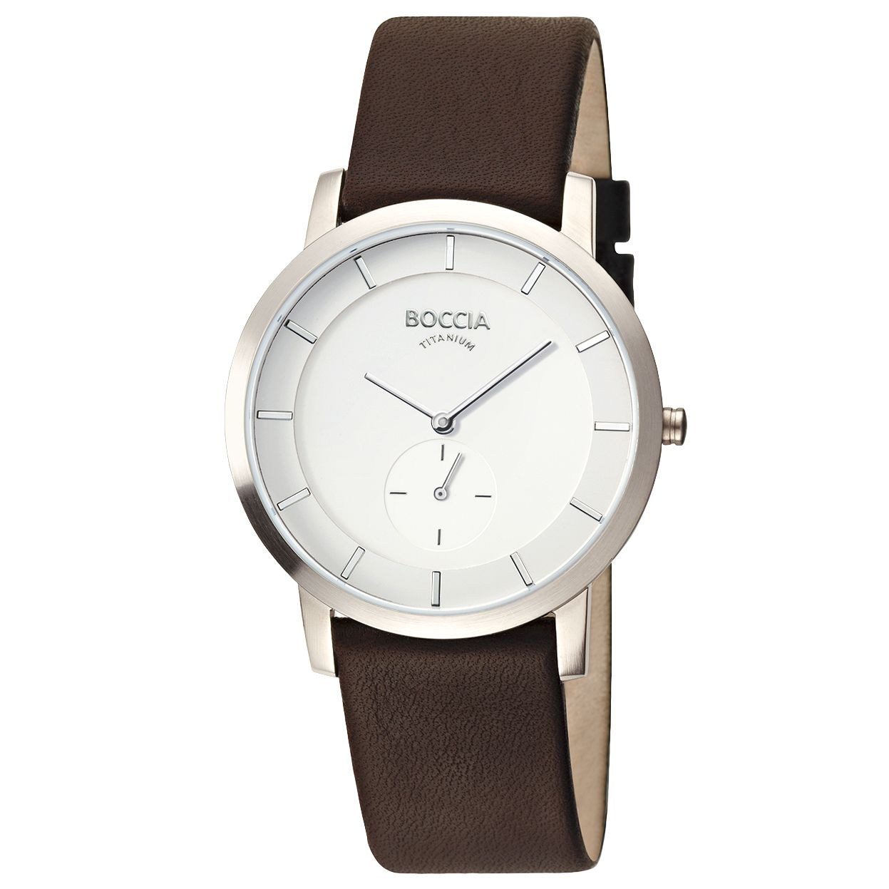 Boccia B3540-01 Men's Round White Dial Titanium Case Black Leather Strap Watch