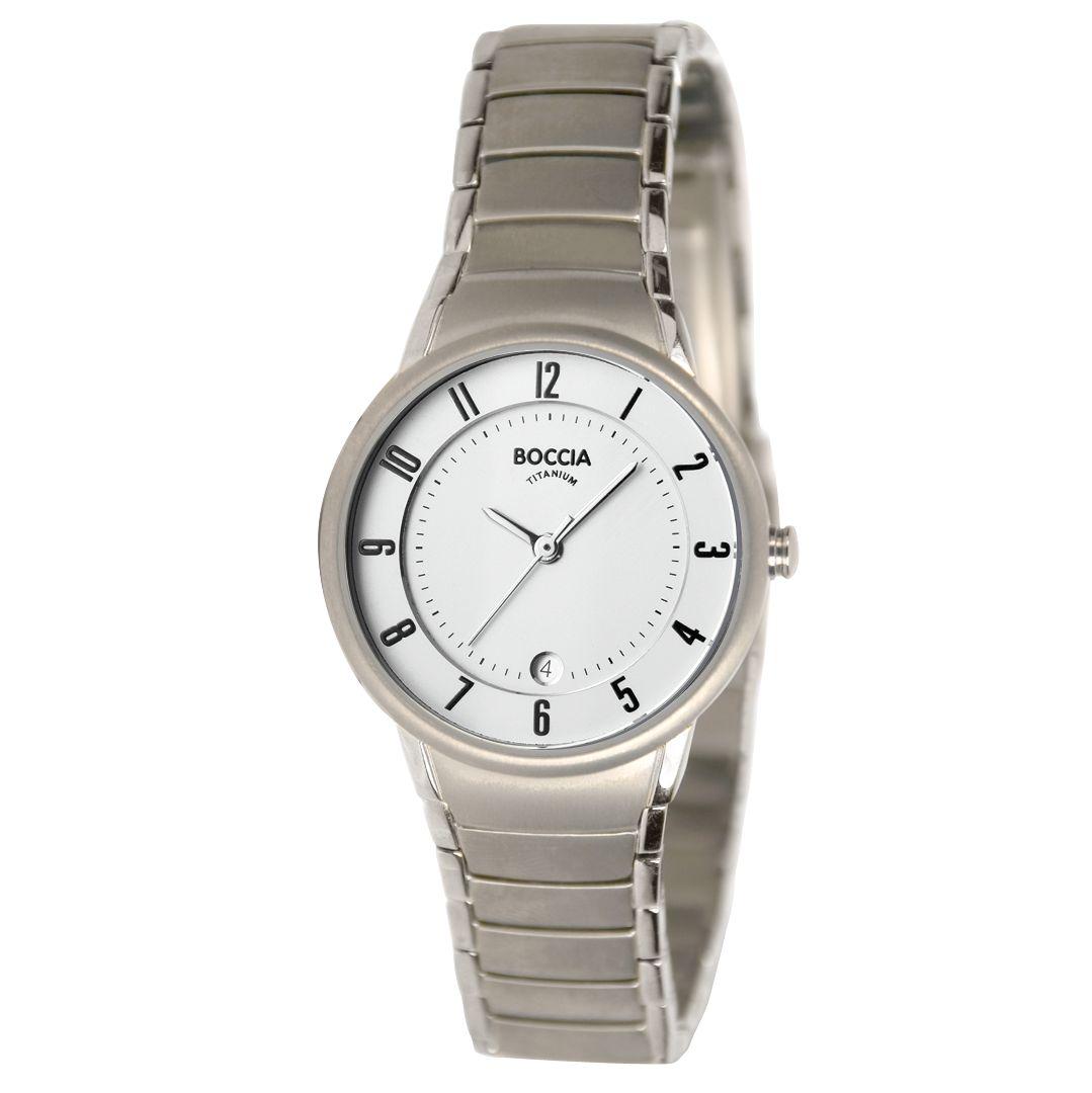 Boccia B3158-01 Women's Round White Dial Titanium Bracelet Watch