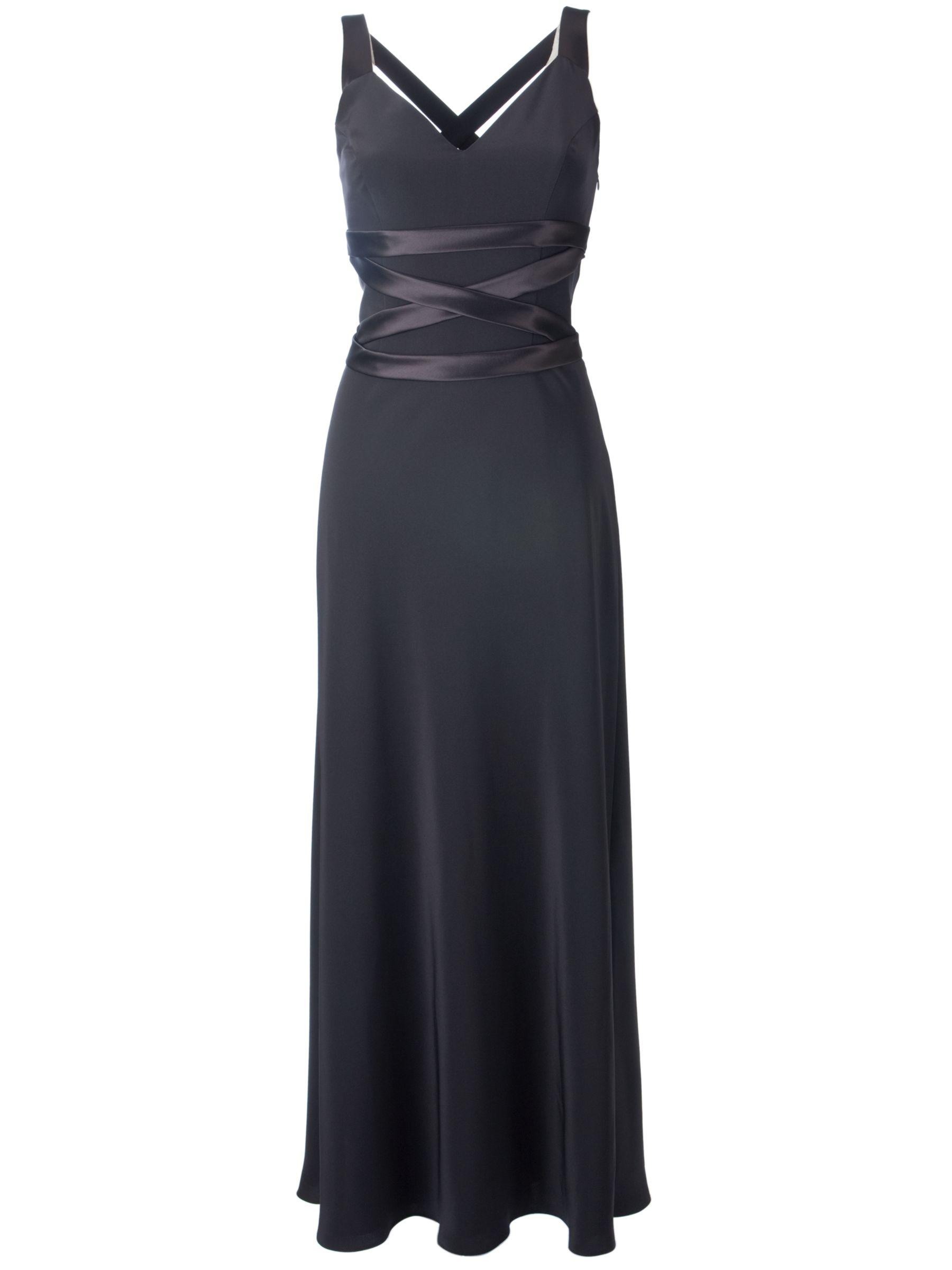 John Lewis Women Satin Crepe Strap Detail Long Dress, Black at John Lewis