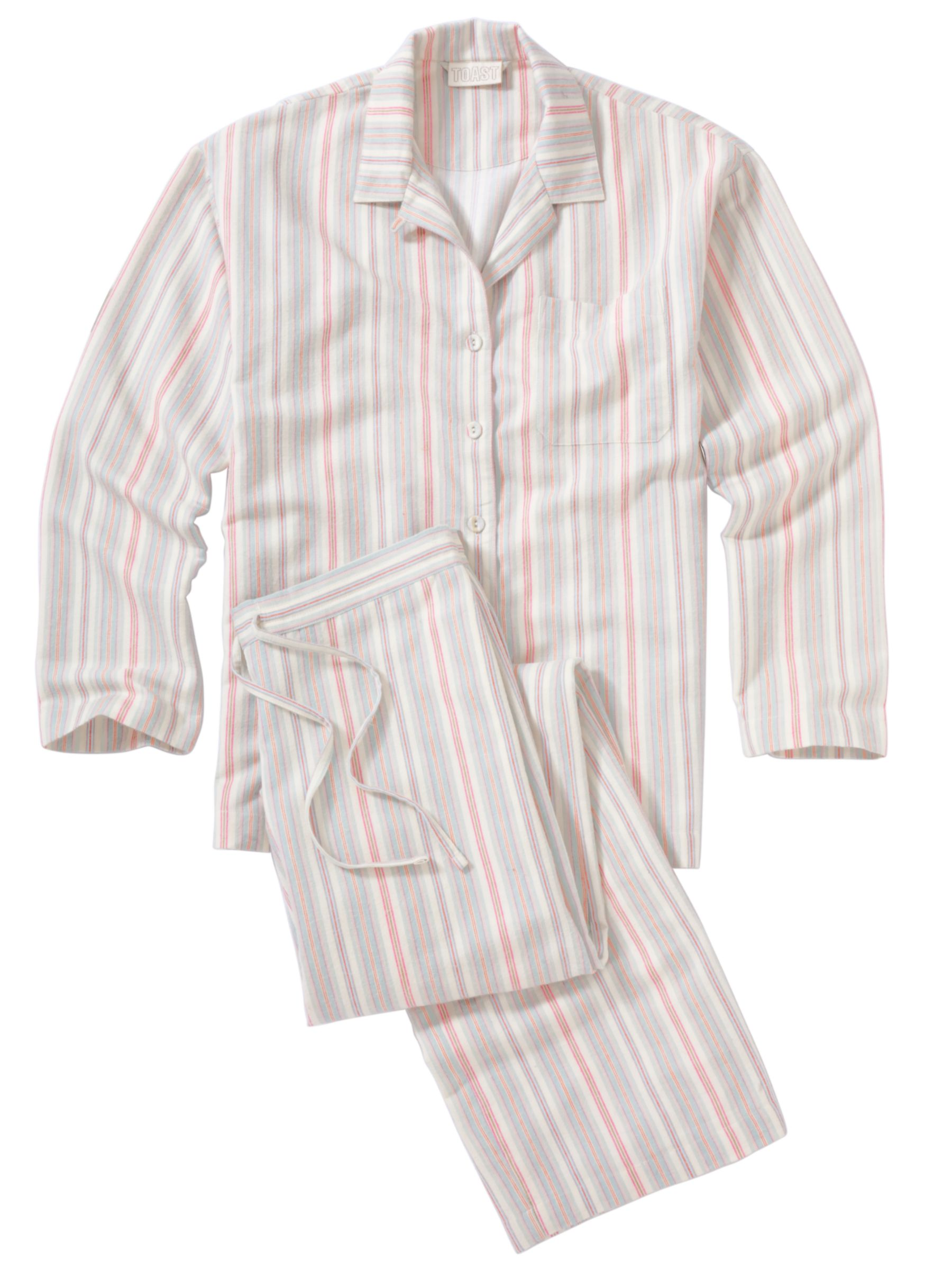 Toast Stripe Flannel Pyjama Set, Ecru