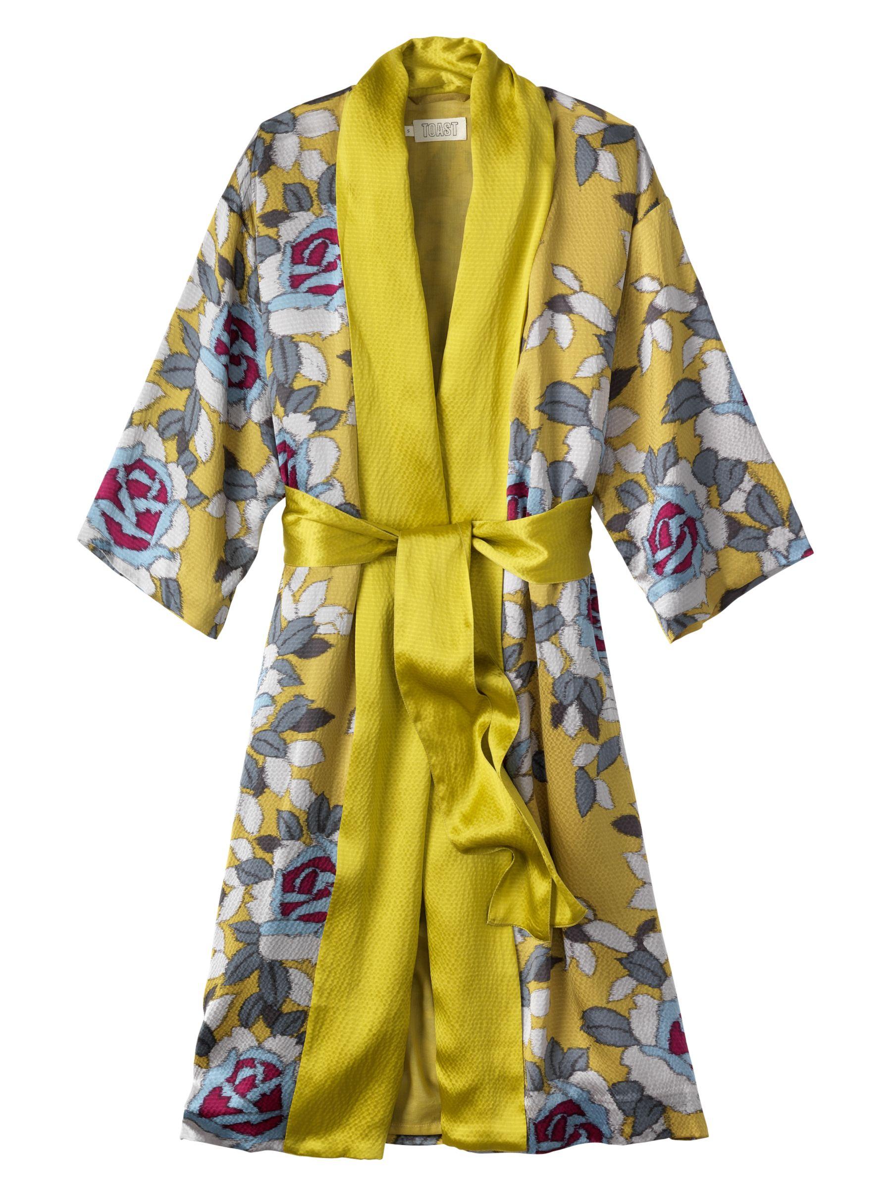 Toast Ottoman Silk Gown, Yellow/Multi at JohnLewis