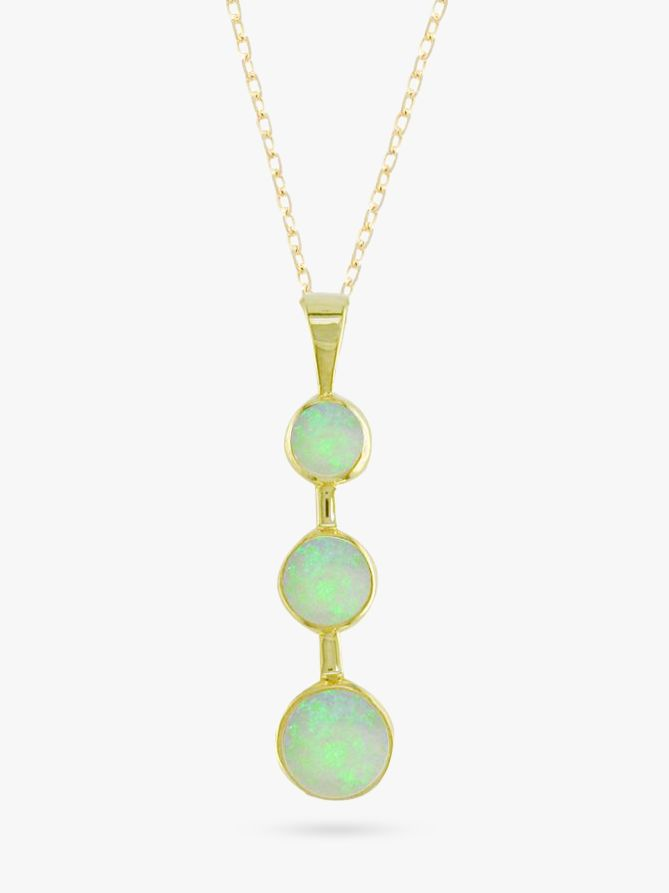 9ct Yellow Gold 3 Stone Opal Drop Pendant Necklace