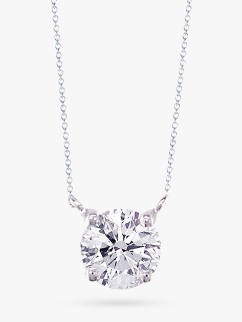 18ct White Gold Diamond Solitaire Pendant Necklace