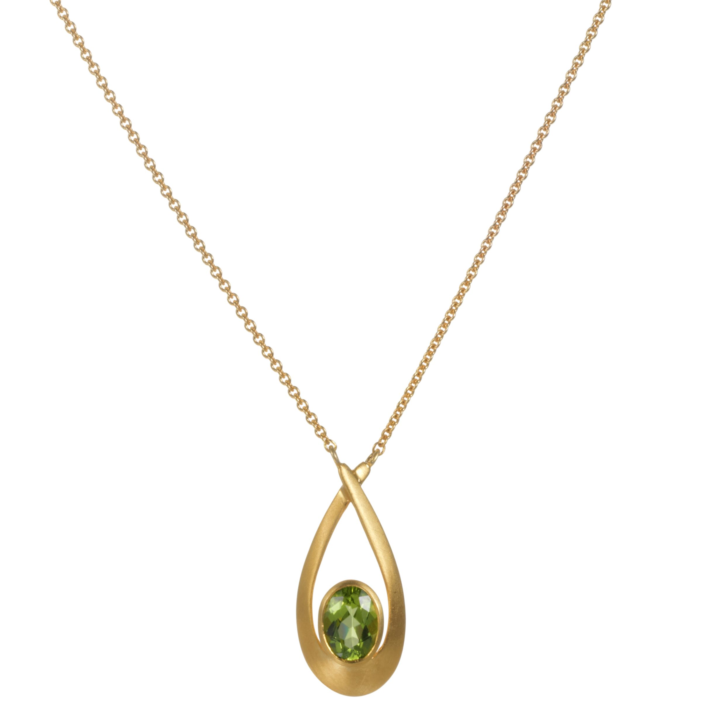 9ct Yellow Gold Satin Finished Peridot Pendant Necklace