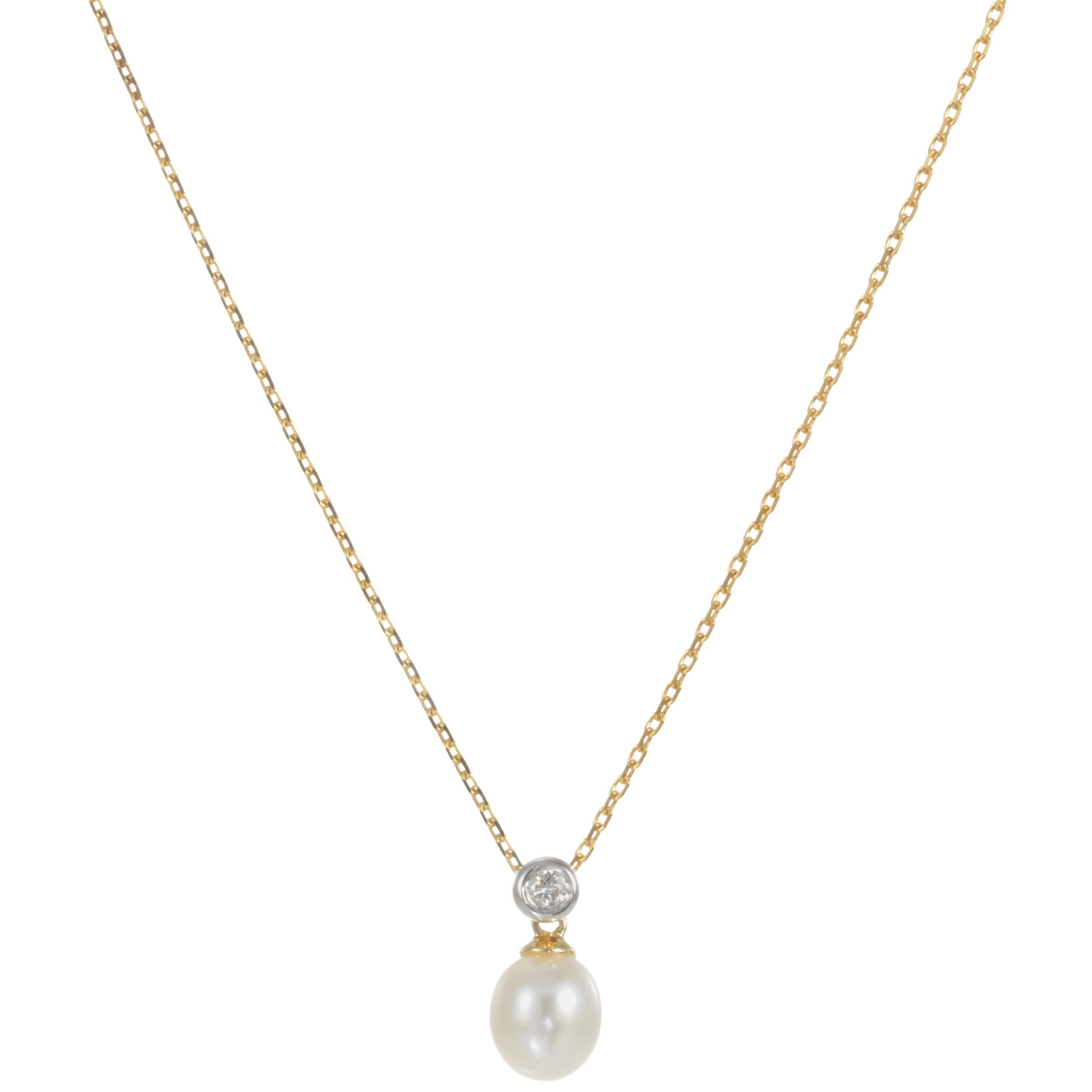 9ct Yellow Gold Diamond/Cultured White Freshwater Pearl Pendant Necklace