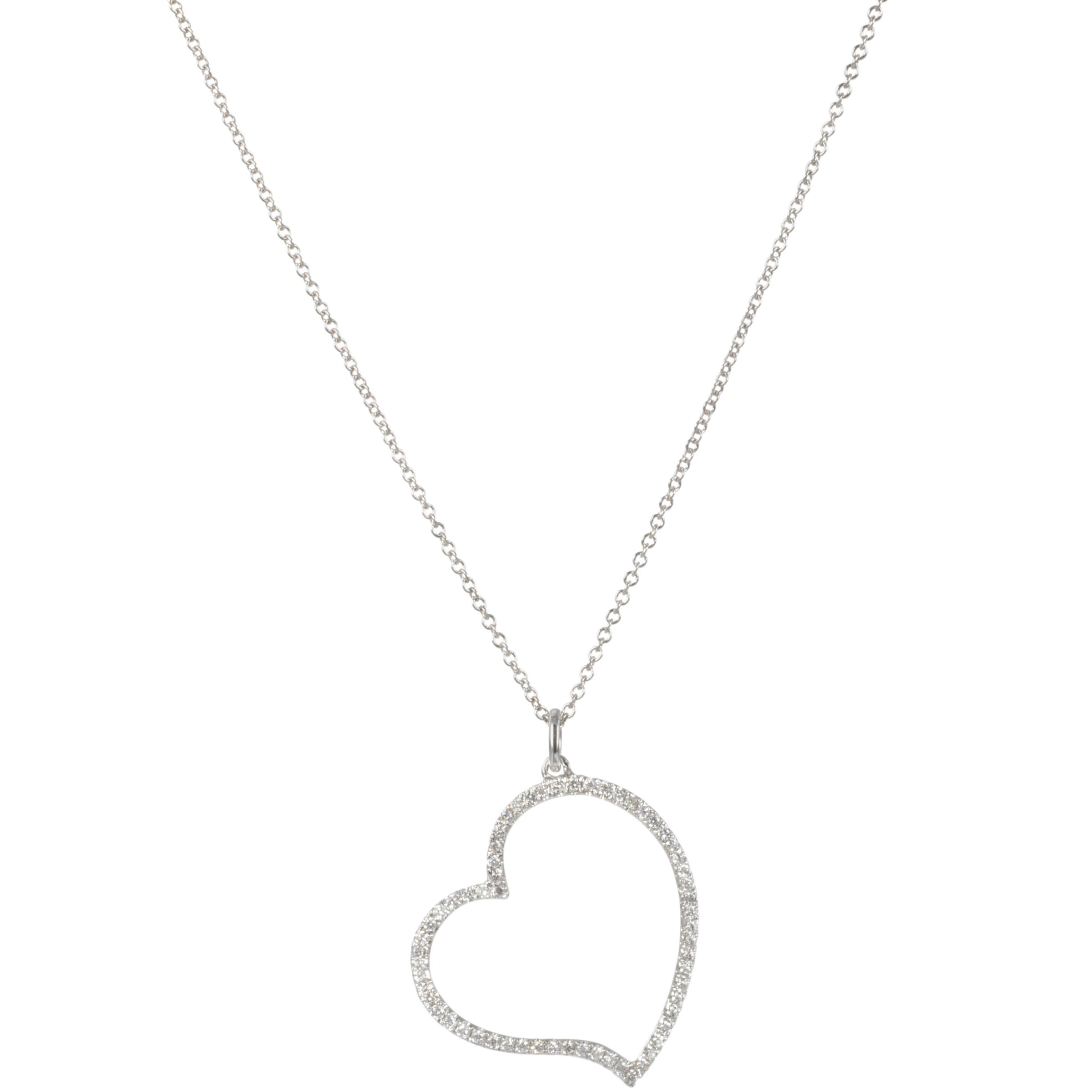 London Road 18ct White Gold Diamond Heart Pendant Necklace