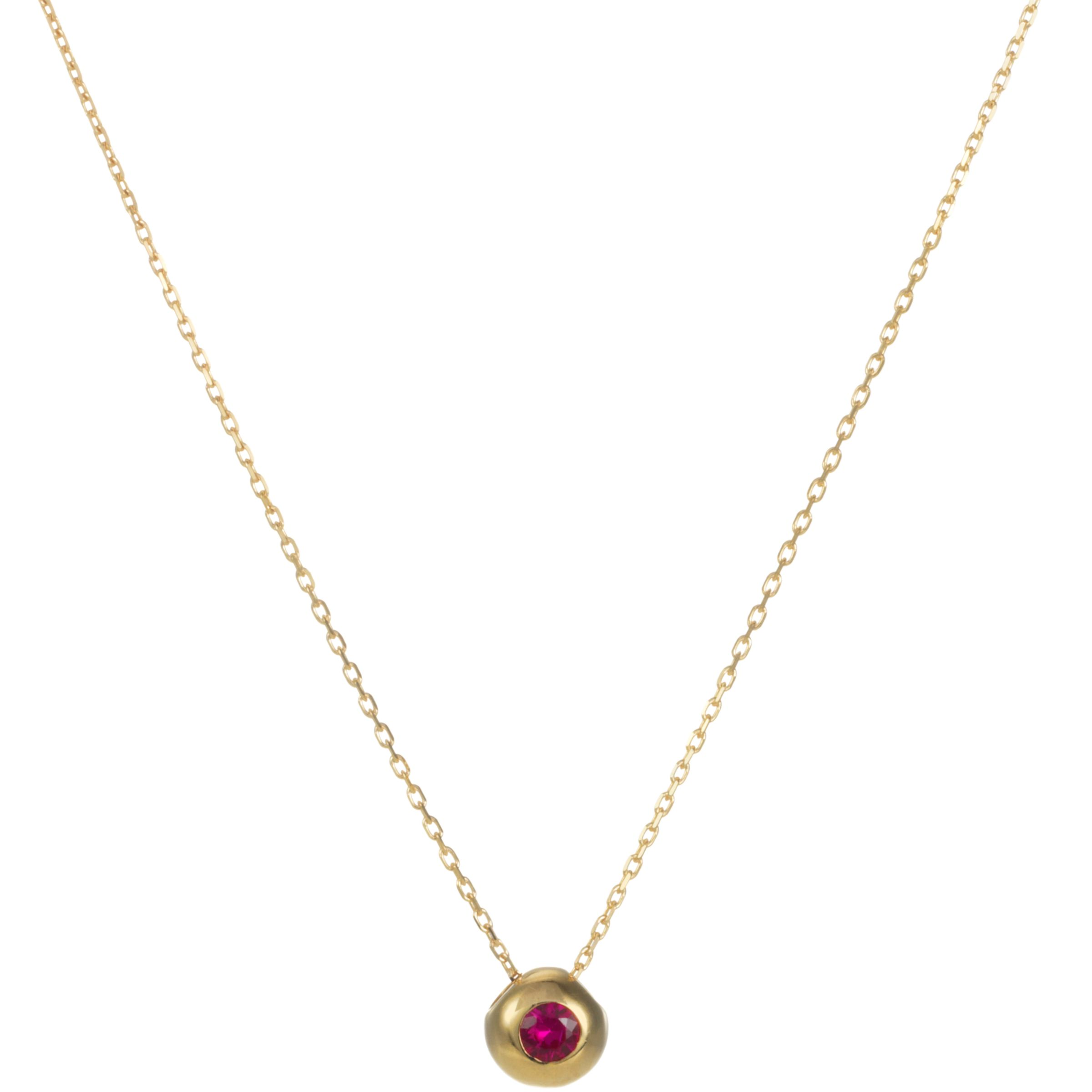 9ct Yellow Gold Ruby Slide Pendant Necklace