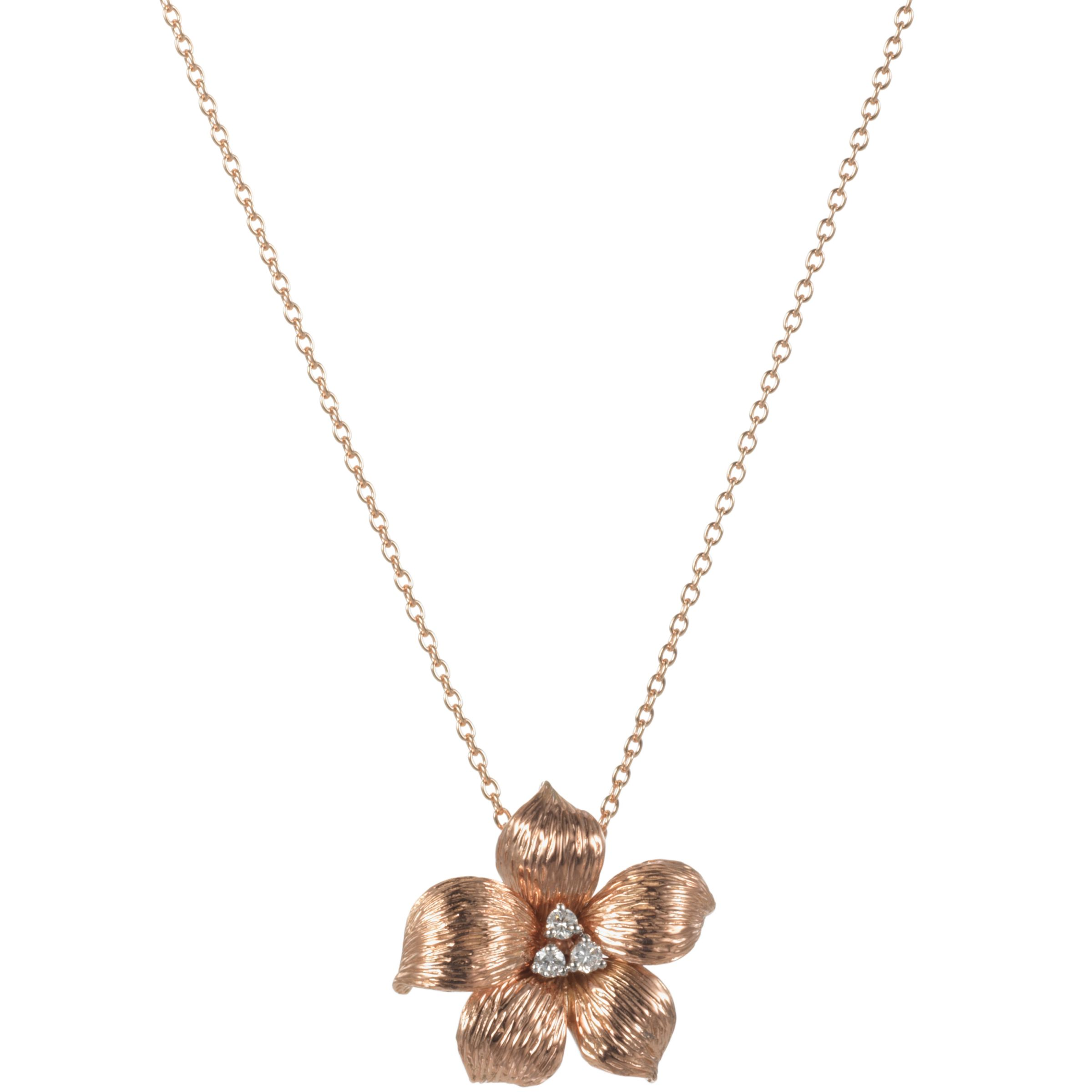London Road 9ct Rose Gold Diamond Lily Pendant Necklace