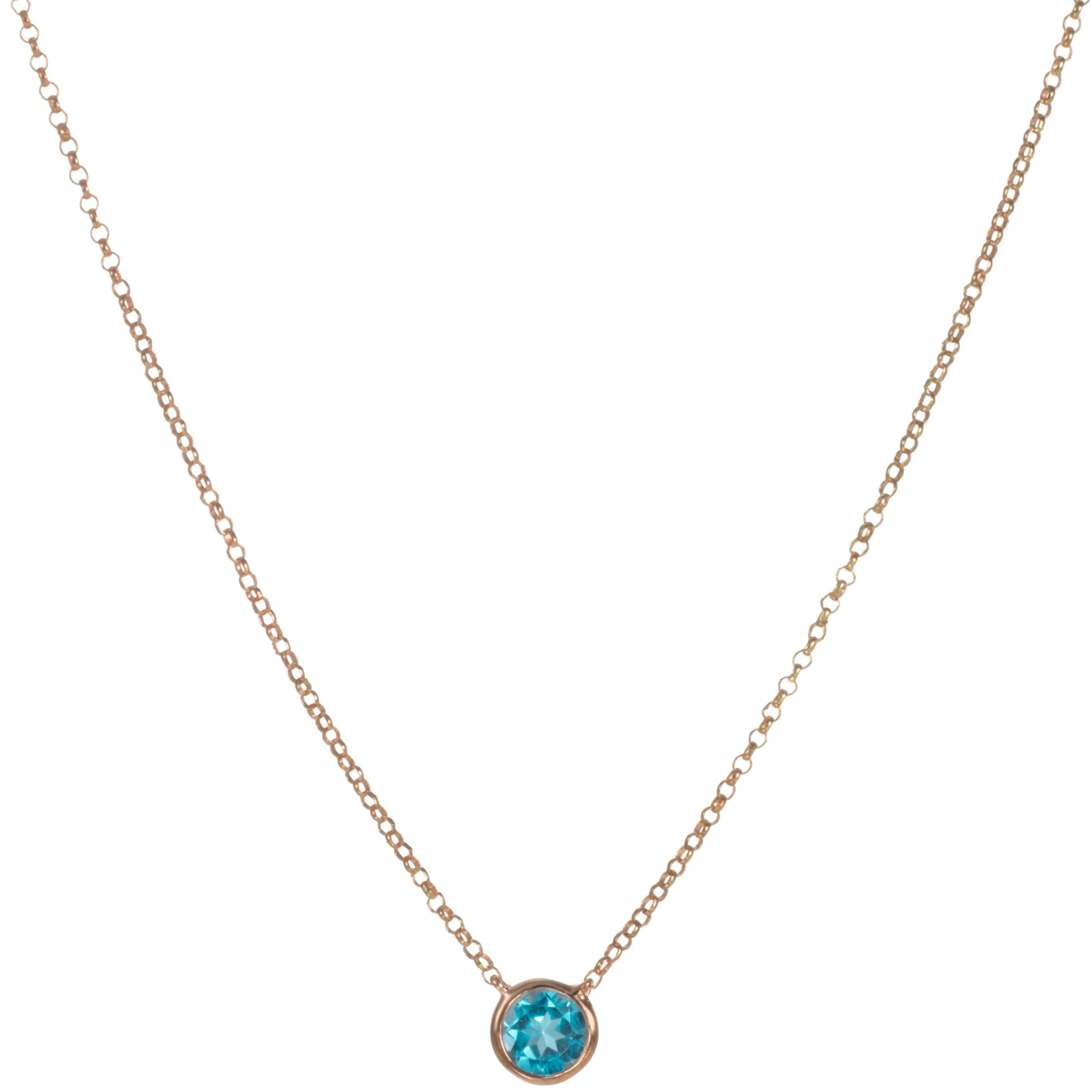London Road 9ct Rose Gold Rain Drop Blue Topaz Pendant Necklace