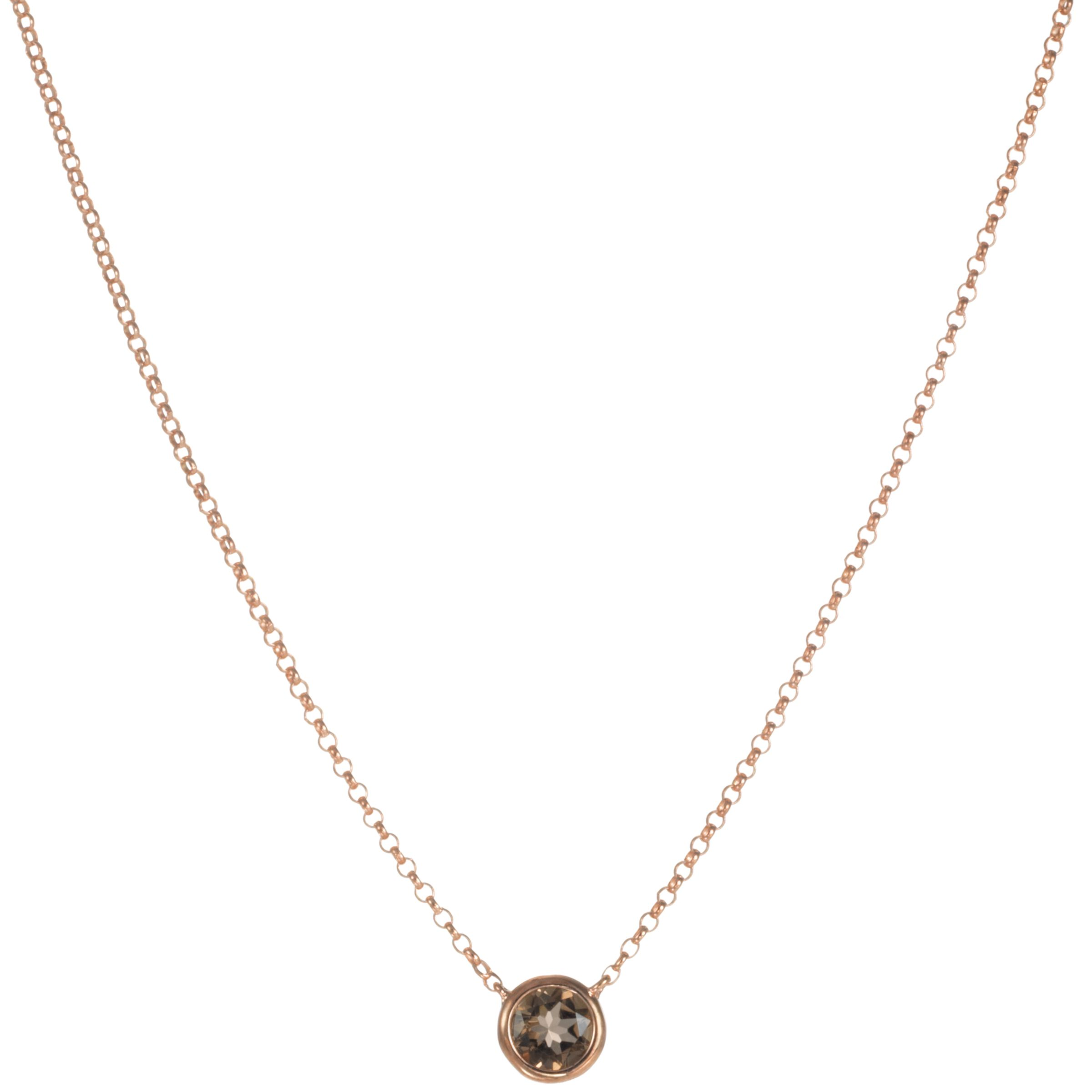 London Road 9ct Rose Gold Rain Drop Smokey Quartz Pendant Necklace
