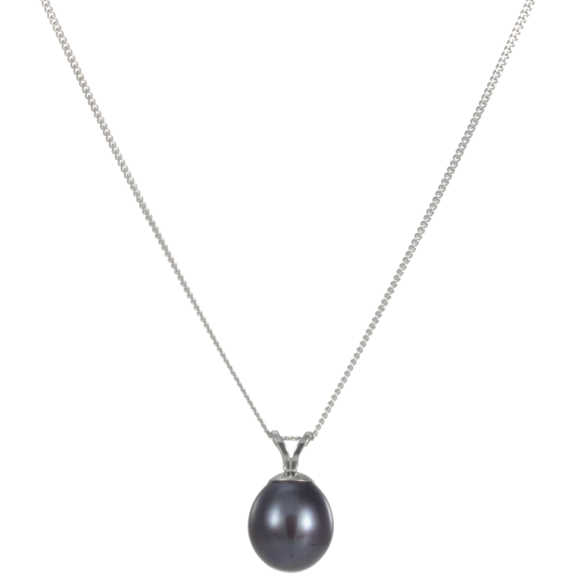 9ct White Gold Blueberry Cultured Pearl Pendant Necklace
