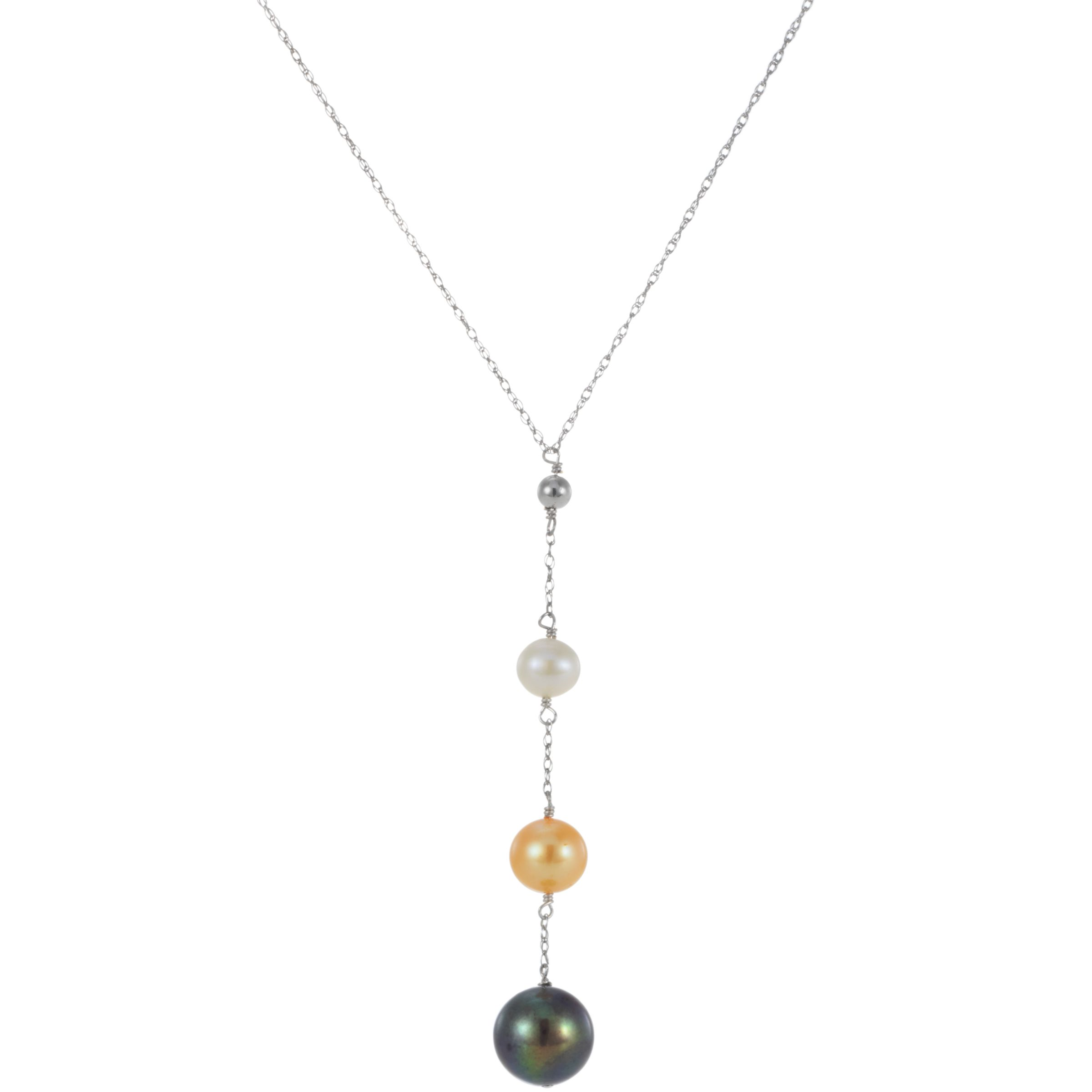 9ct White Gold and Multi Coloured Freshwater Pearl Drop Pendant Necklace