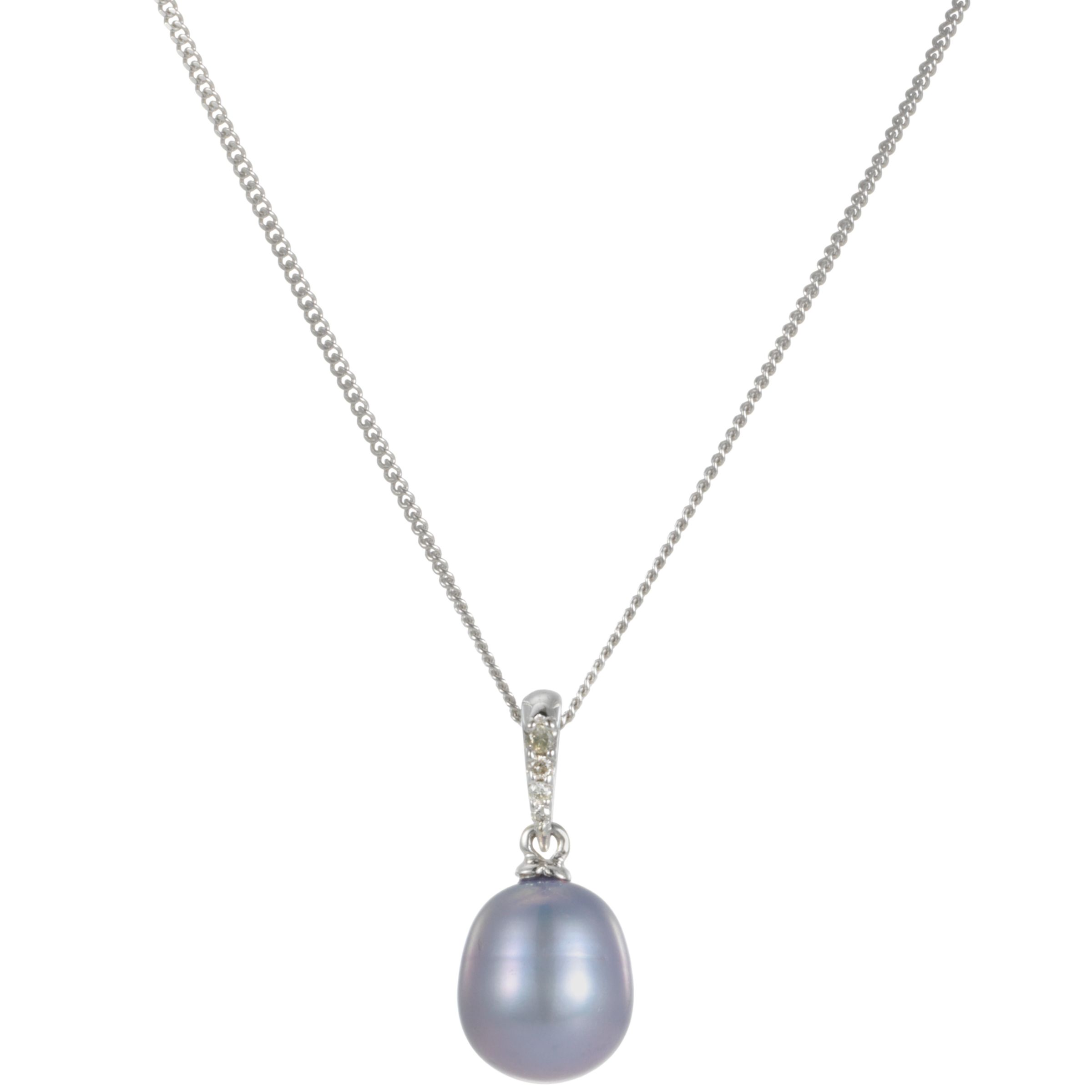 9ct White Gold Purple Freshwater Pearl and Diamond Pendant Necklace