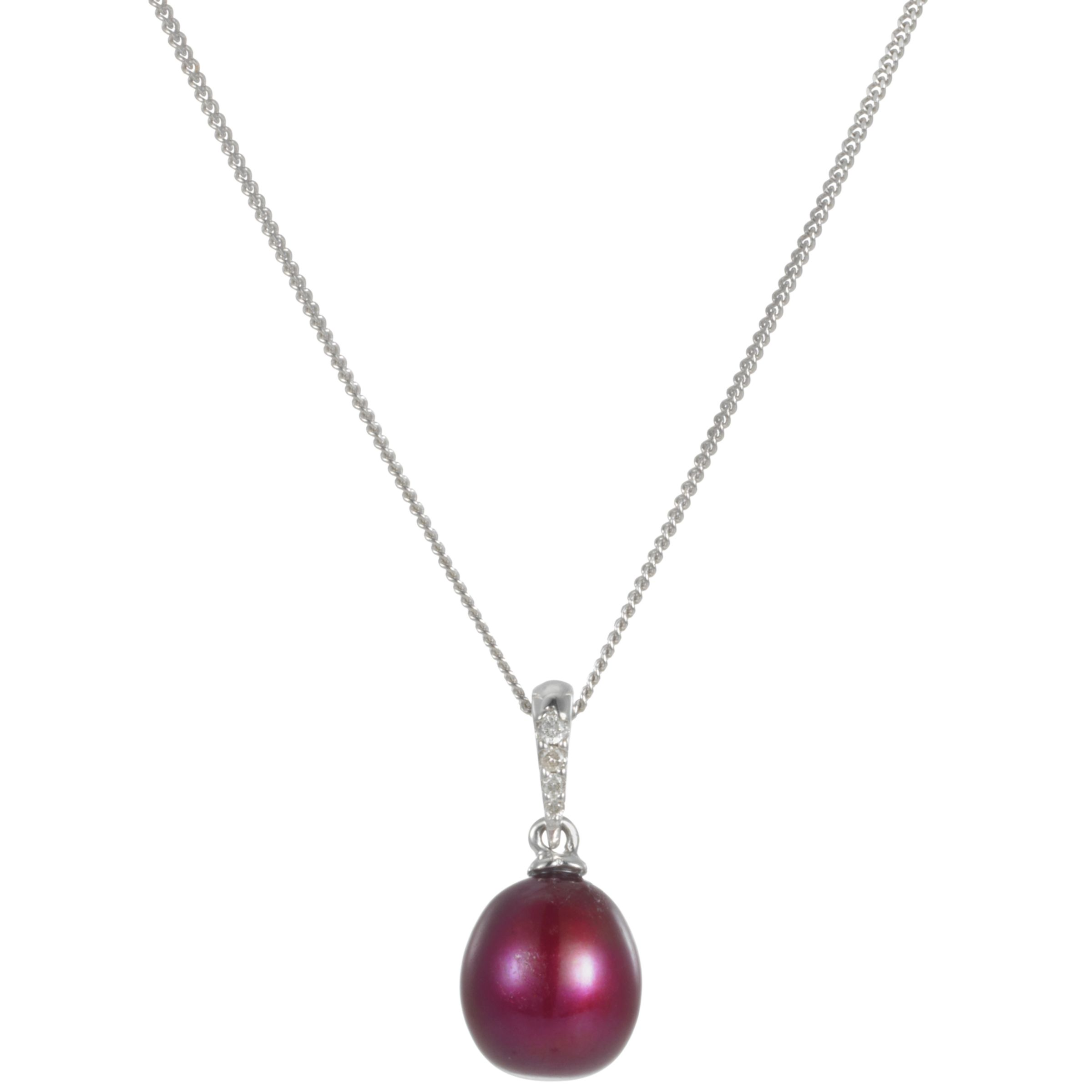 9ct White Gold Cranberry Freshwater Pearl and Diamond Pendant Necklace