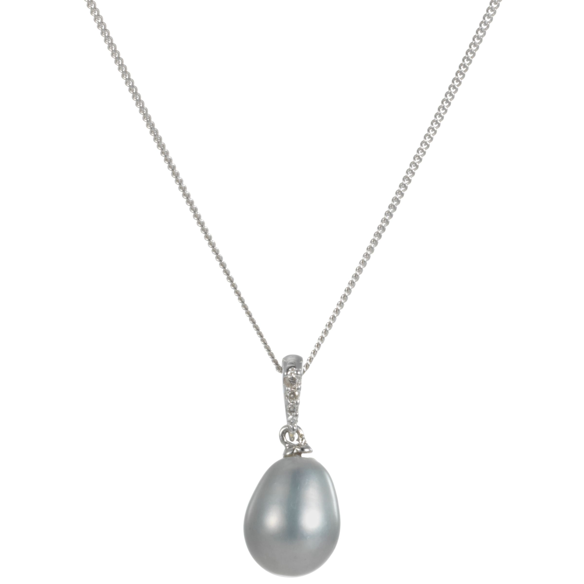 9ct White Gold Grey Freshwater Pearl and Diamond Pendant Necklace